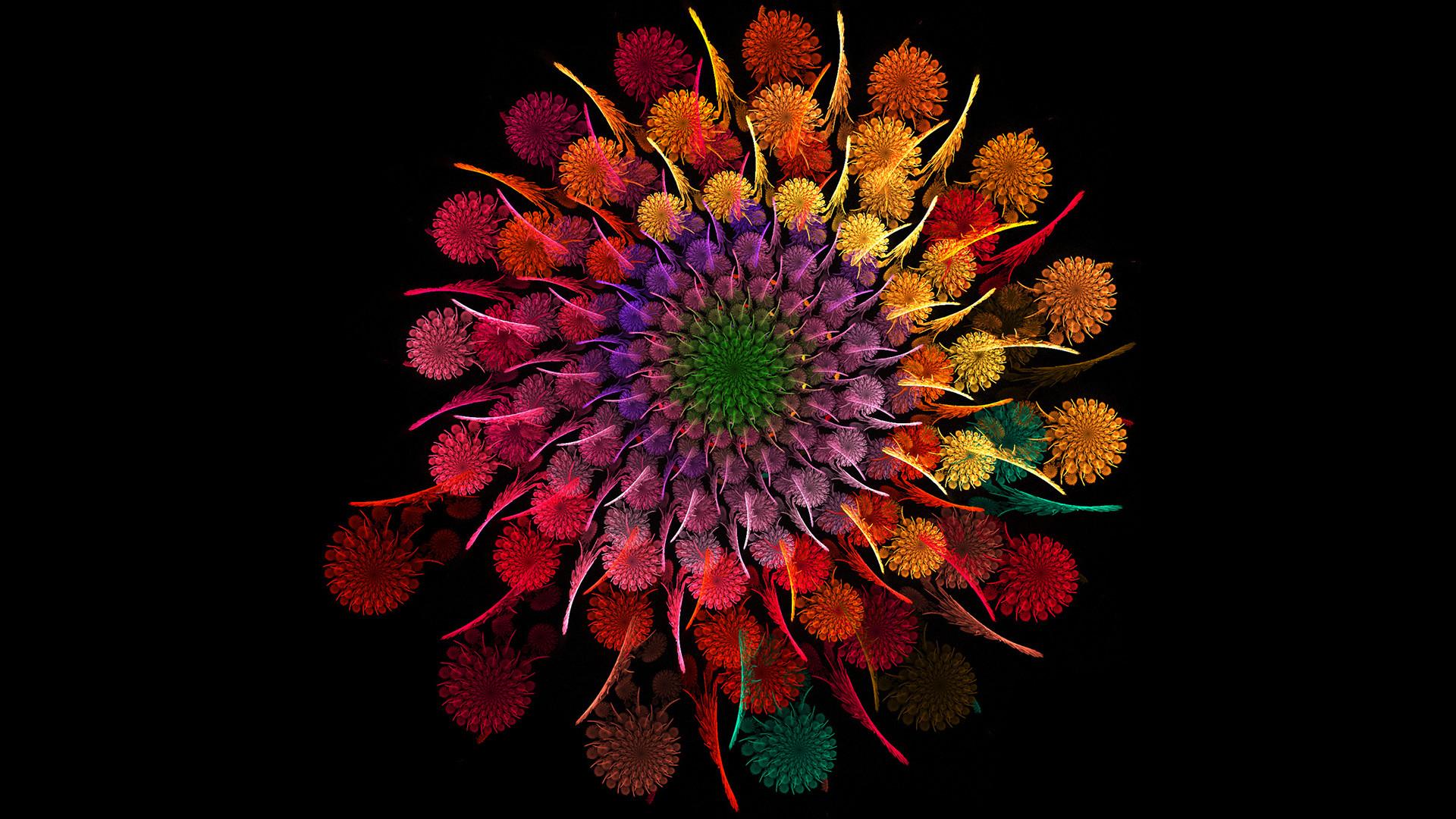 Preview wallpaper rainbow, flower, spiral, fractal 1920×1080