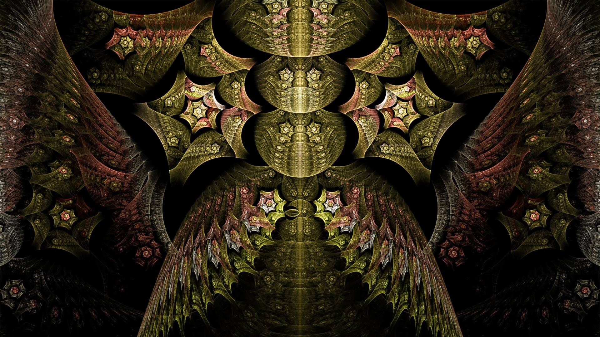 Preview wallpaper fractal, abstract, patterns, gold 1920×1080