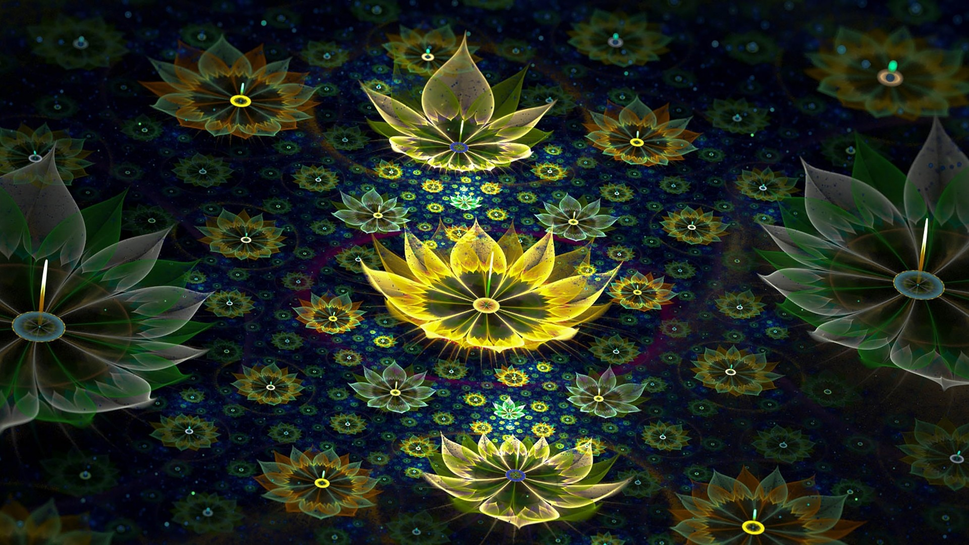 … Background Full HD 1080p. Wallpaper fractal, abstract, flowers