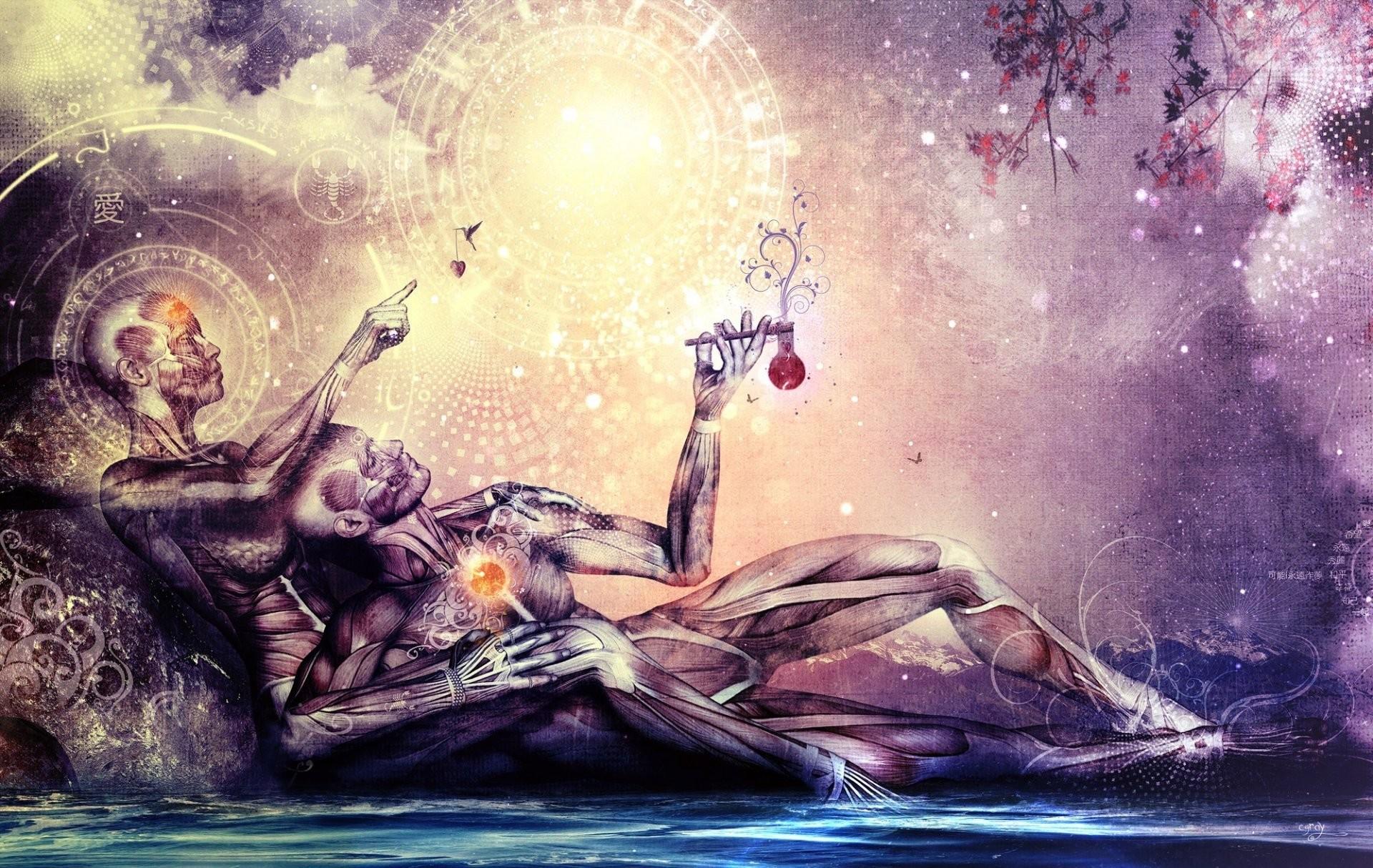 cameron gray art two men a woman anatomy chakra symbols water sky  contemplation spirituality zodiac