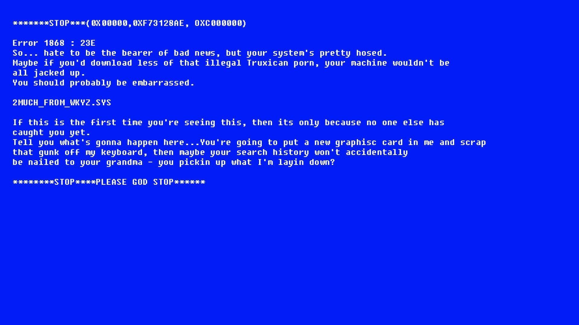 I made the blue screen easteregg into a wallpaper : Borderlands2