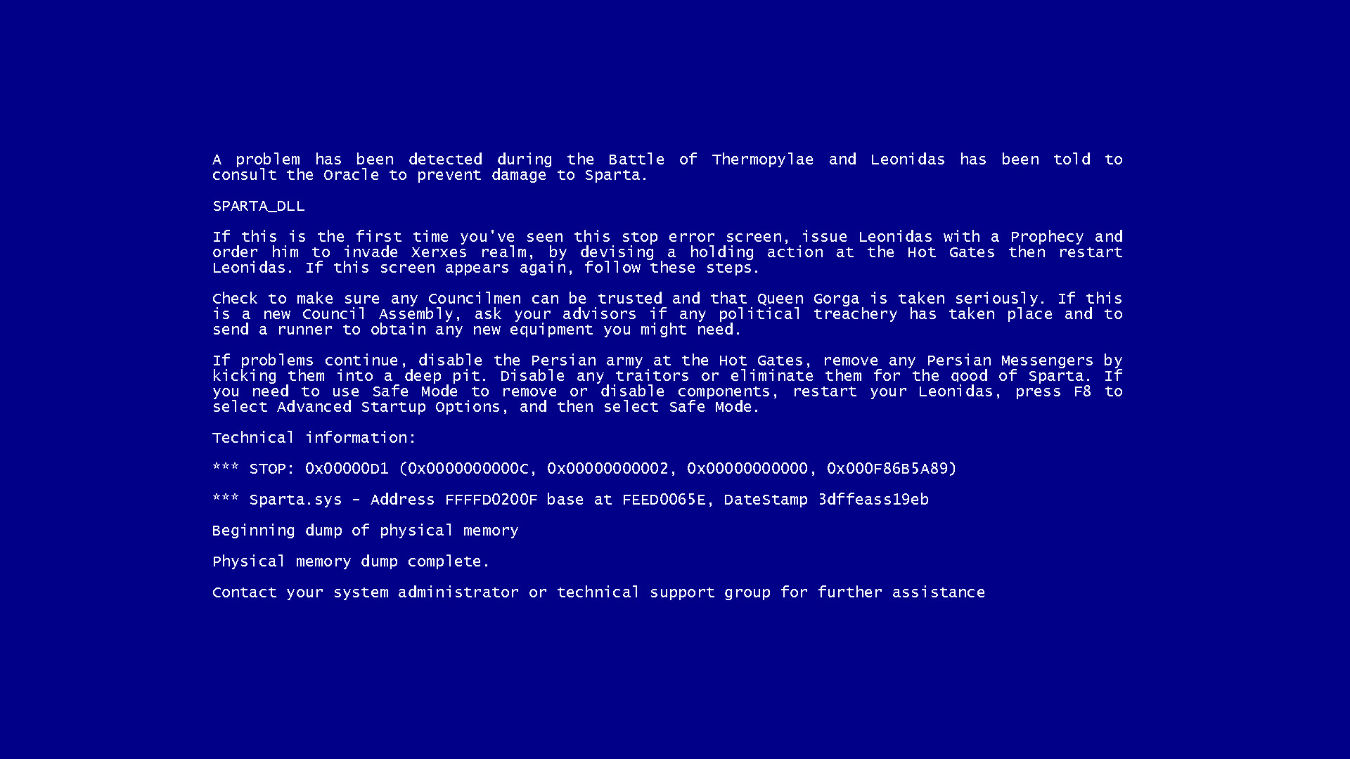… JonathanBluestone Blue Screen of Death: This is Sparta by  JonathanBluestone
