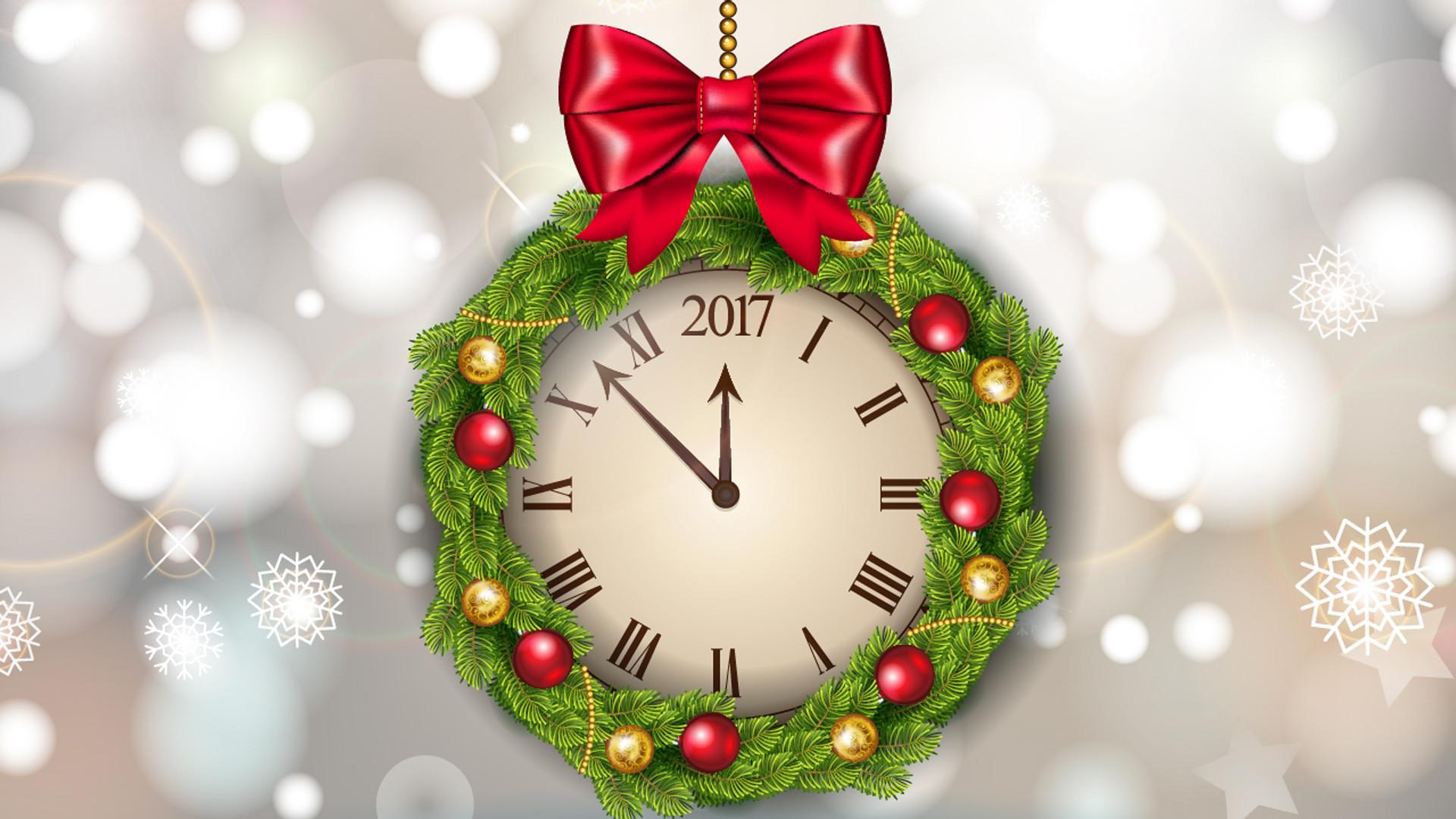 Holiday – New Year 2017 Holiday New Year Wreath Clock Wallpaper