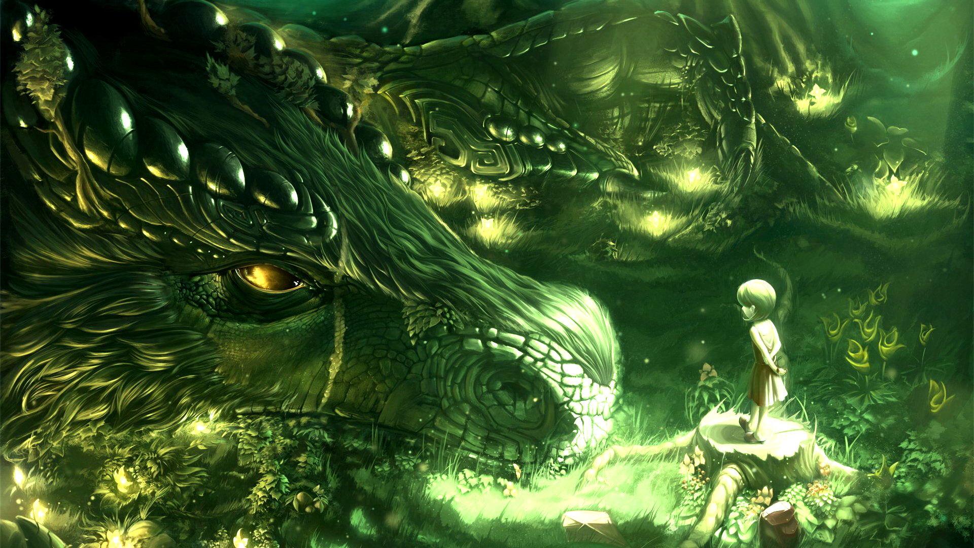 -Green-Trees-Dragons-Monsters-Forest-Kids-Fantasy-Art