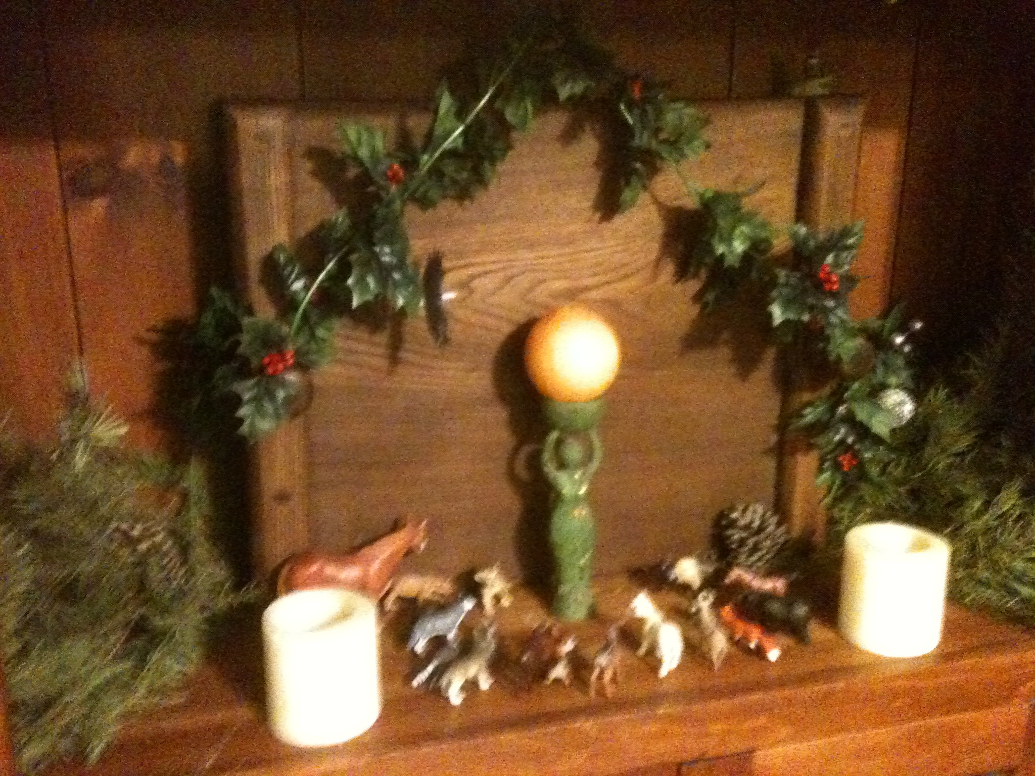 Who says that Pagan's don't have a Nativity scene some do! It is easy to  put together some favorite statues and a little bit of ivy and holly.