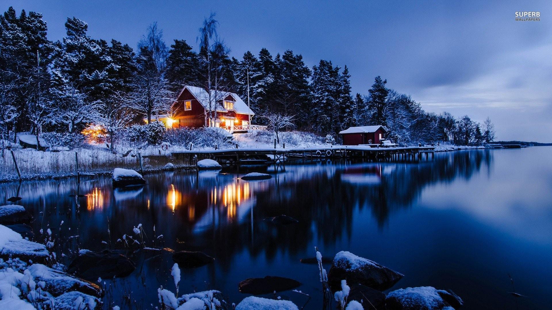 lake-winter-snow-cabin-house.jpg (1920×1080)   Fantasy   Pinterest   3d  wallpaper and Wallpaper