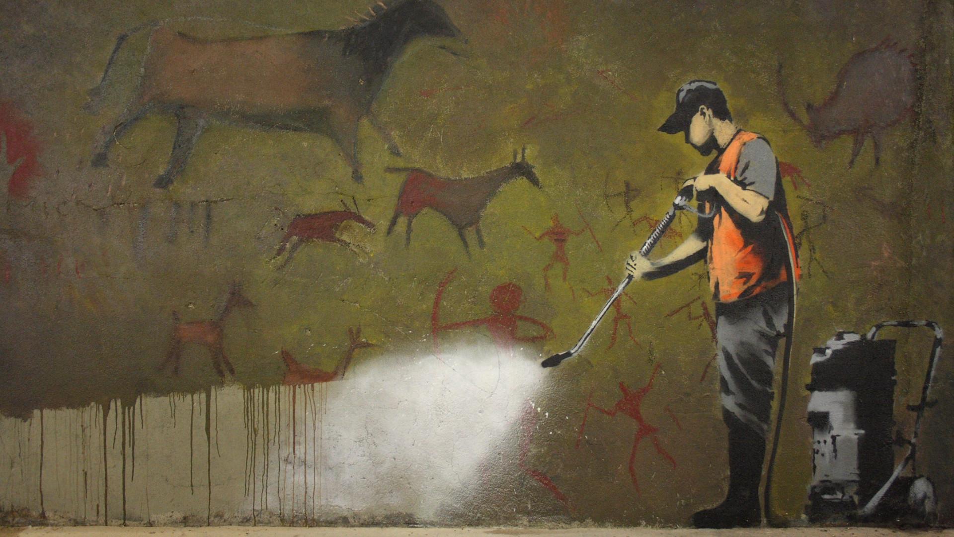 Banksy Graffiti Clean Up Wallpaper