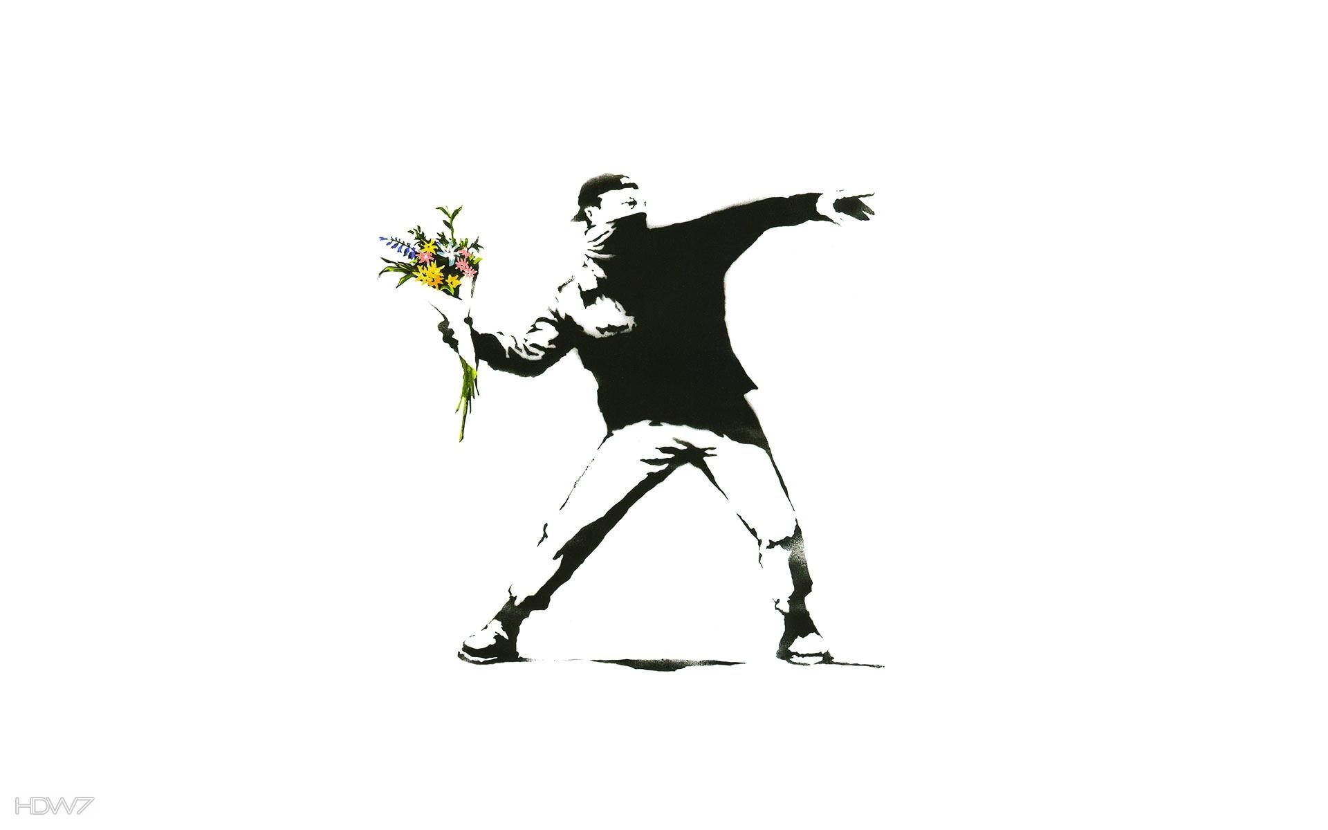 flower thrower banksy wallpaper