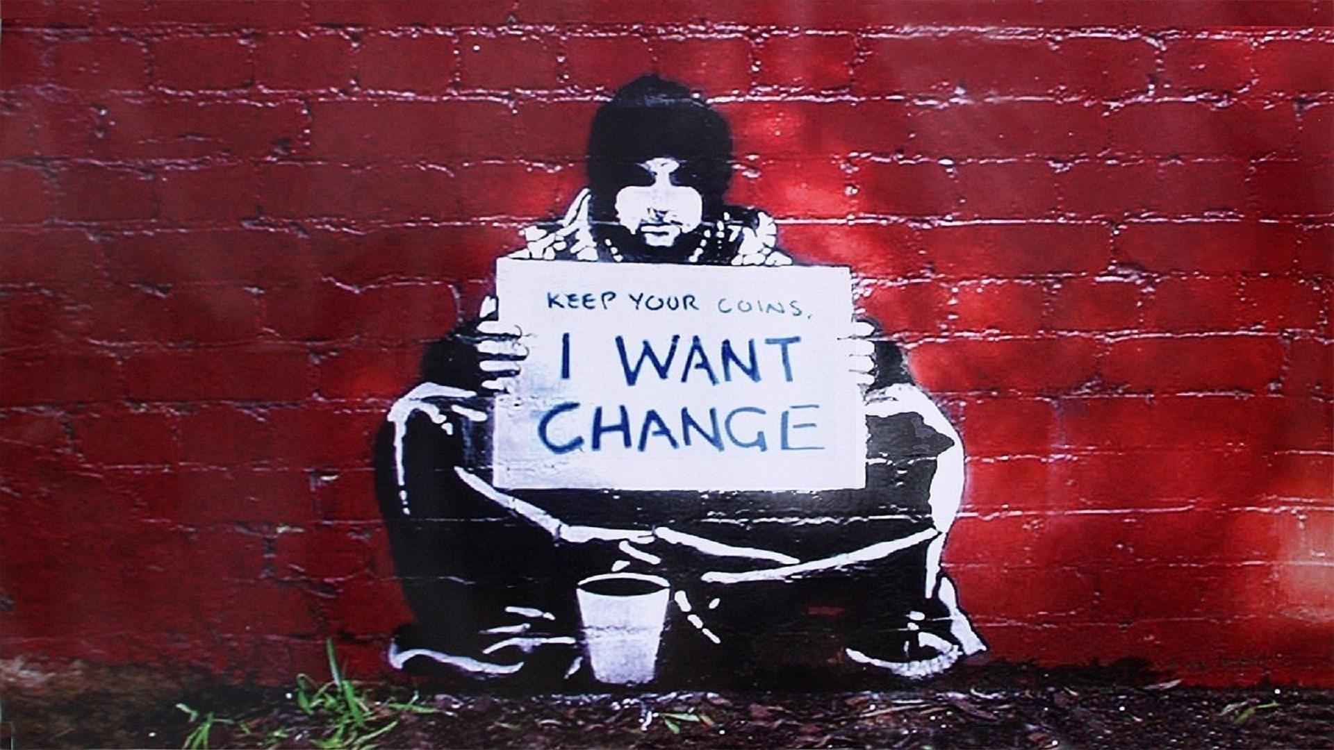 banksy i want change wallpaper