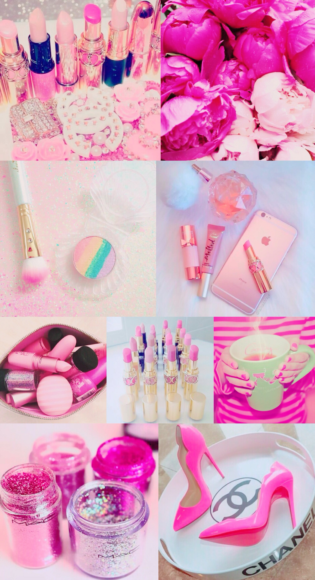 Pink collage wallpaper, background, iPhone, pretty, girly, hd