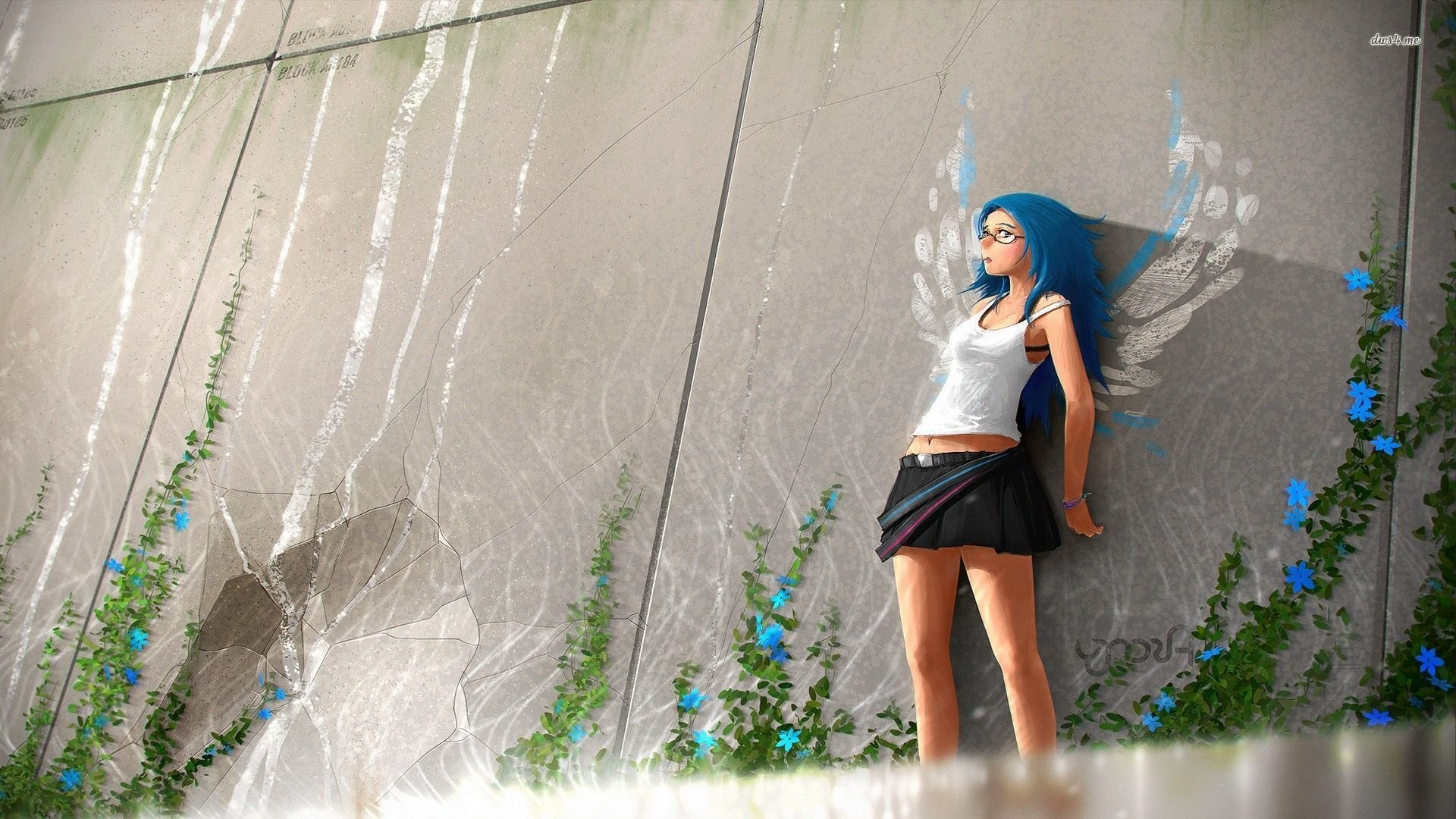 Blue Haired Nerdy Girl …
