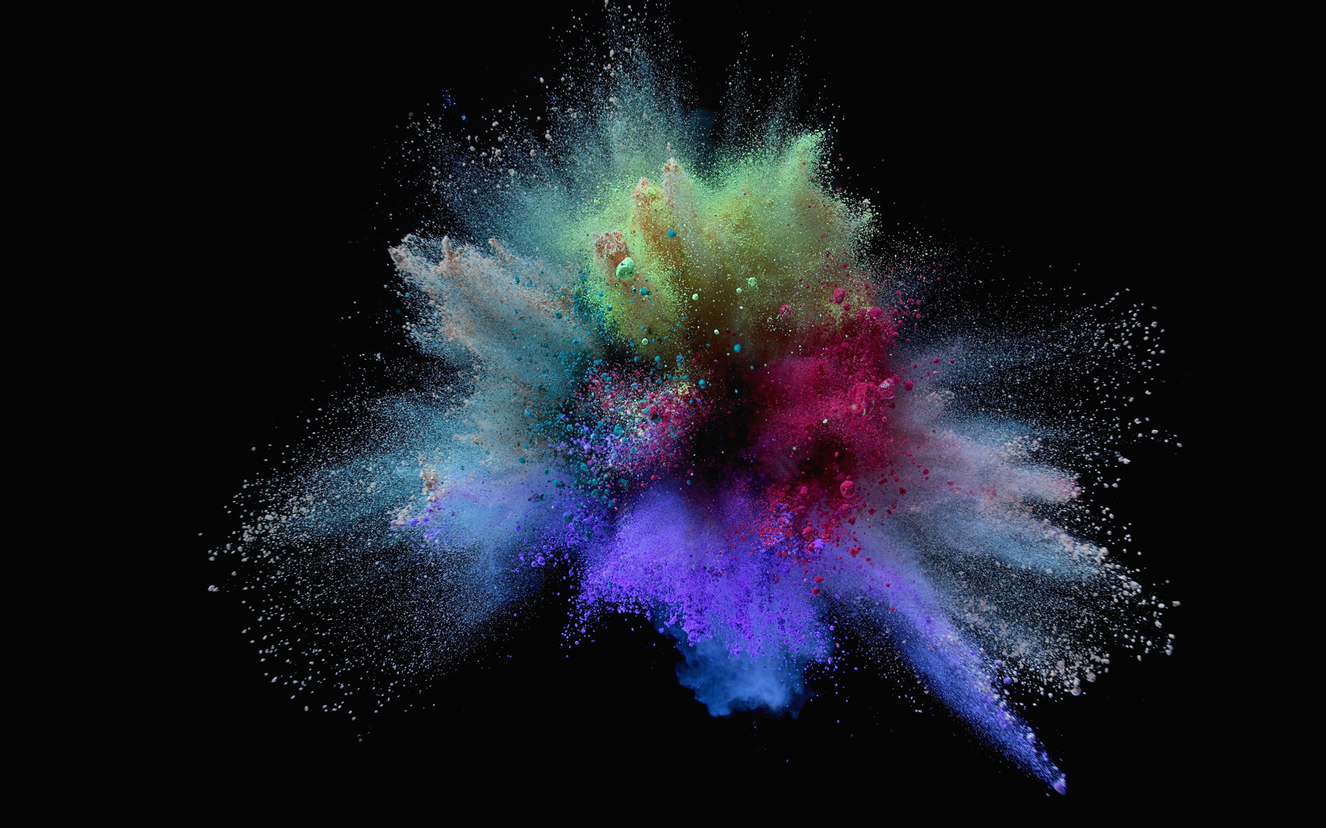 Explosion of colorful sand on black background HD Wallpaper (1920×1200)