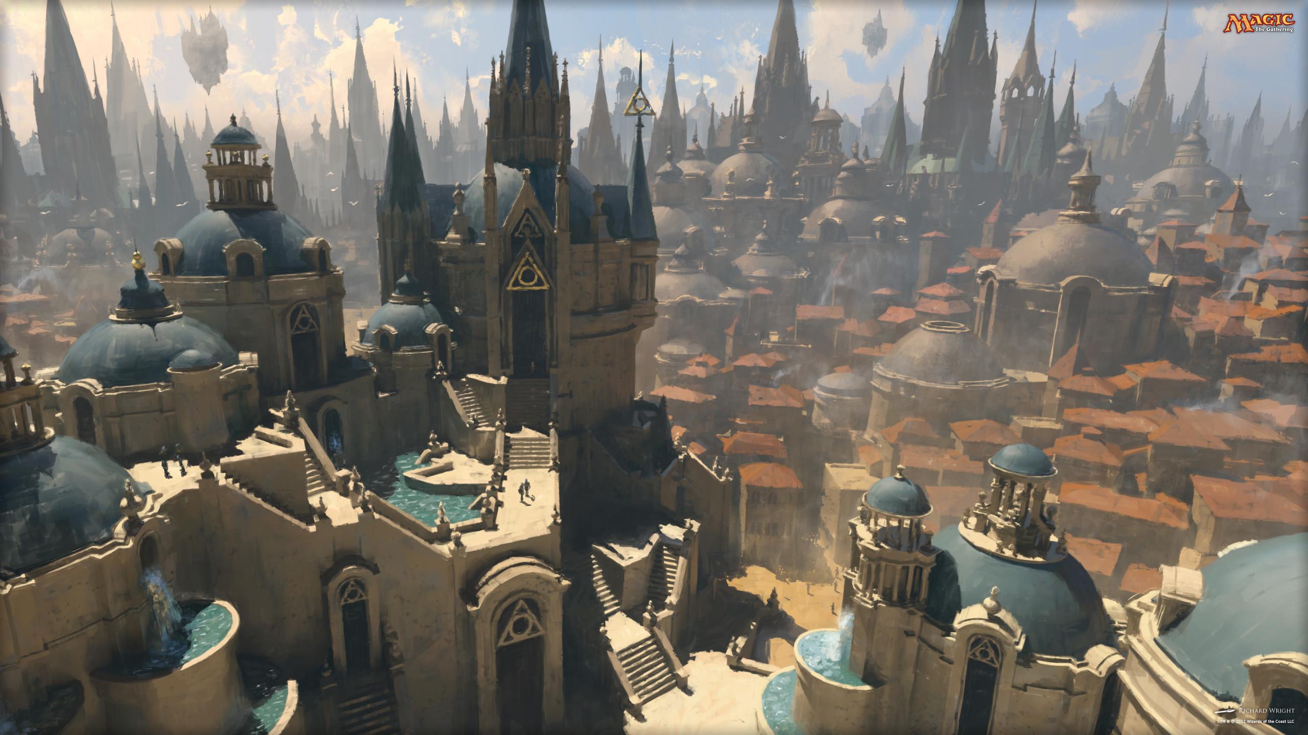 fantasy art artwork magic gathering dark city cities   Arquitectura Elfica    Pinterest   Dark city, Fantasy art and Artwork