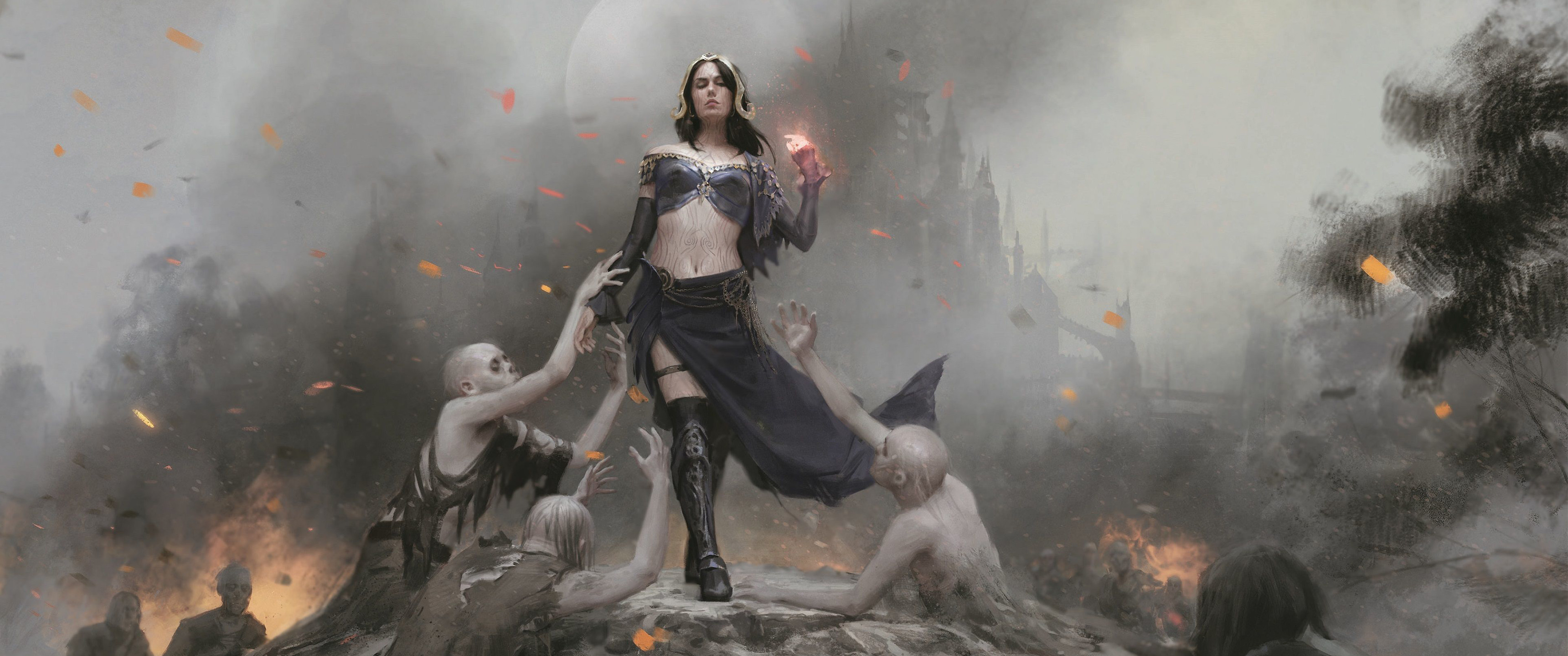 Here is a 3440x1440p wallpaper collection of MTG card art that I put  together :)