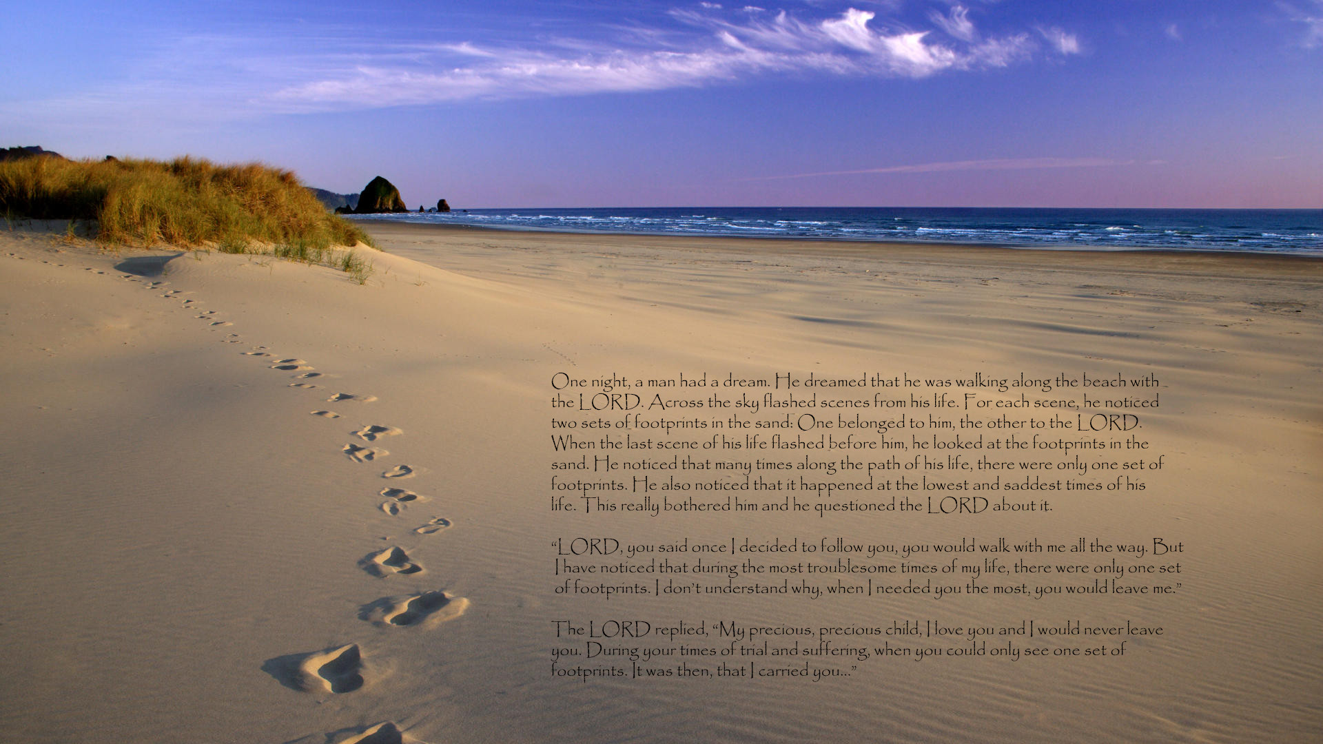 Religious – Christian Love Religion Sand Lord Footprint Wallpaper