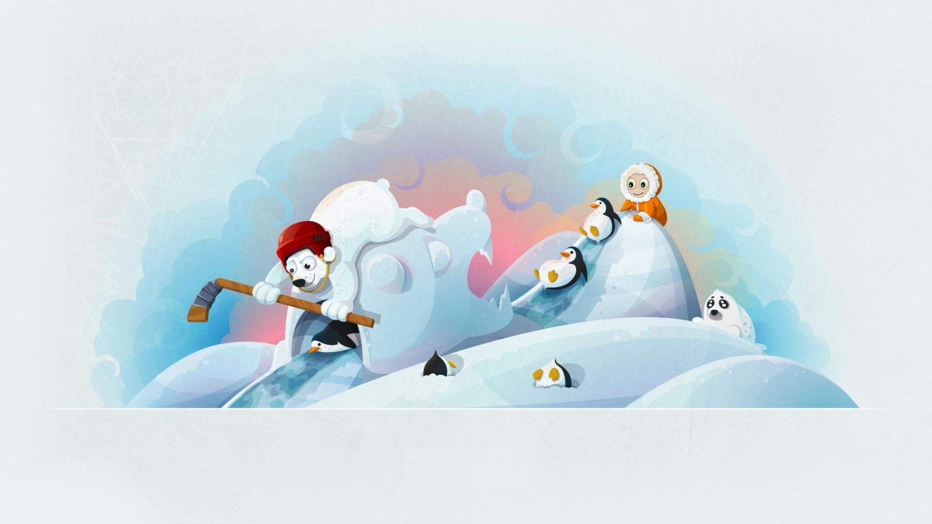 Wallpaper winter, bears, hockey, hockey stick, baby, penguin, fun