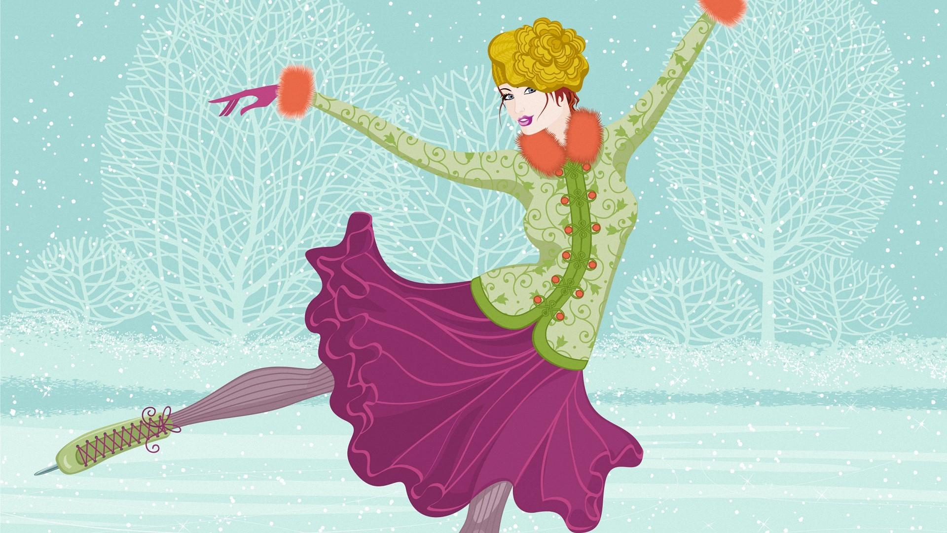 dance girl vector vintage winter