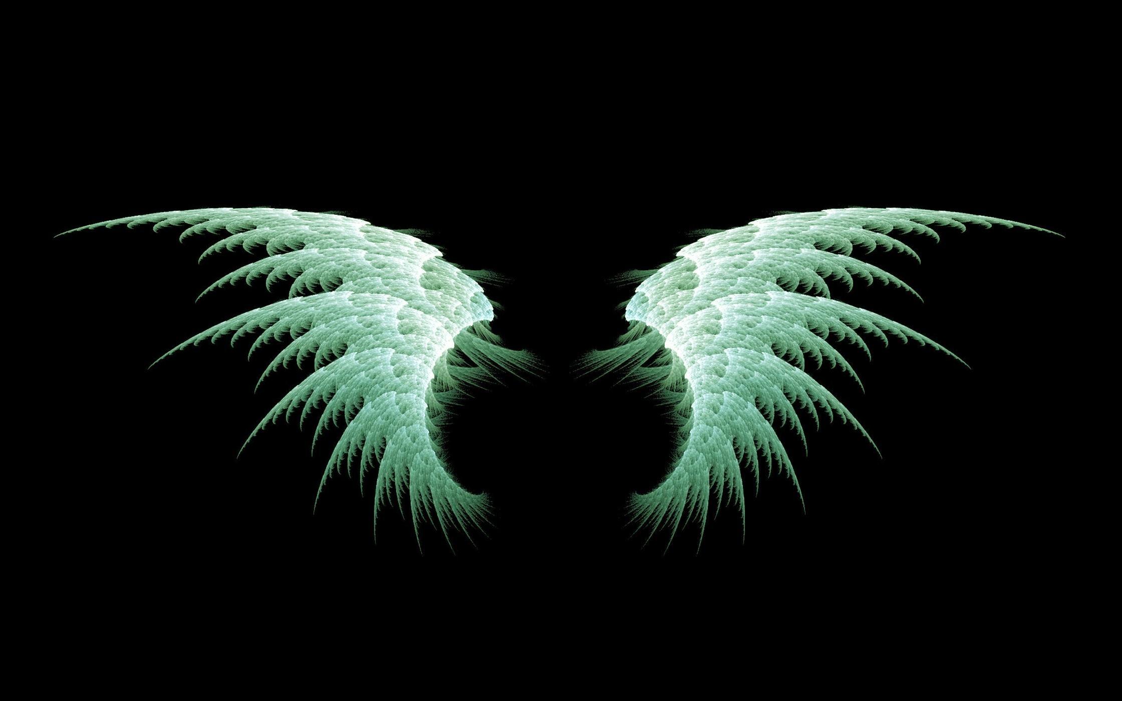 Anime Angel green wings Wallpaper.