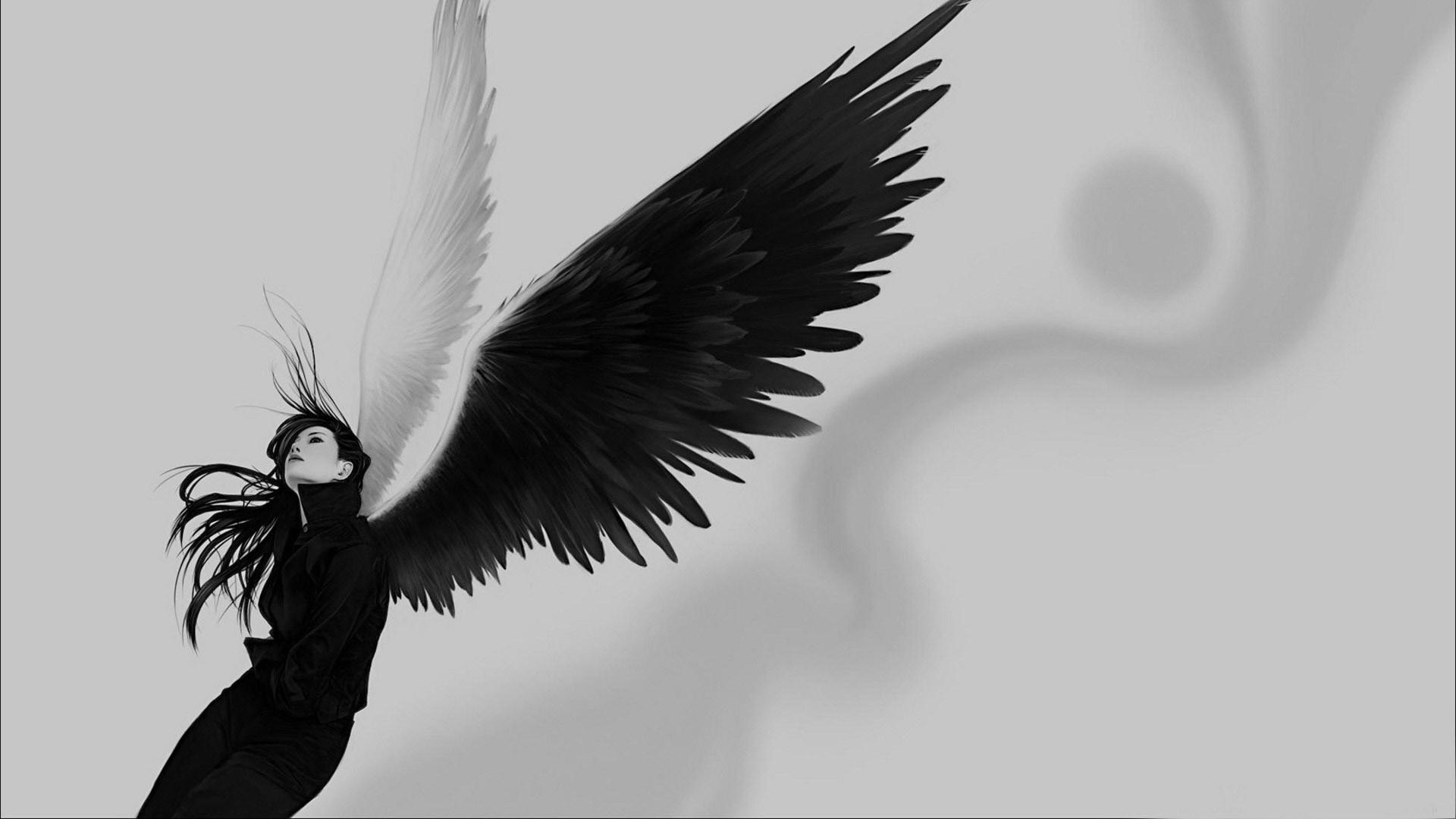 Preview wallpaper angel, wings, white, black, girl 1920×1080