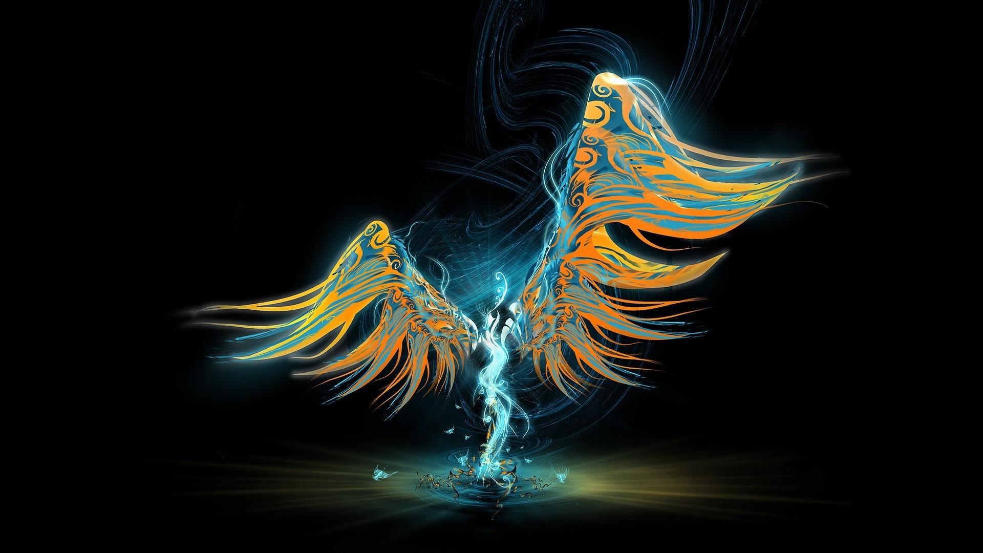 Wallpaper Angel, Wings, Light, Pattern