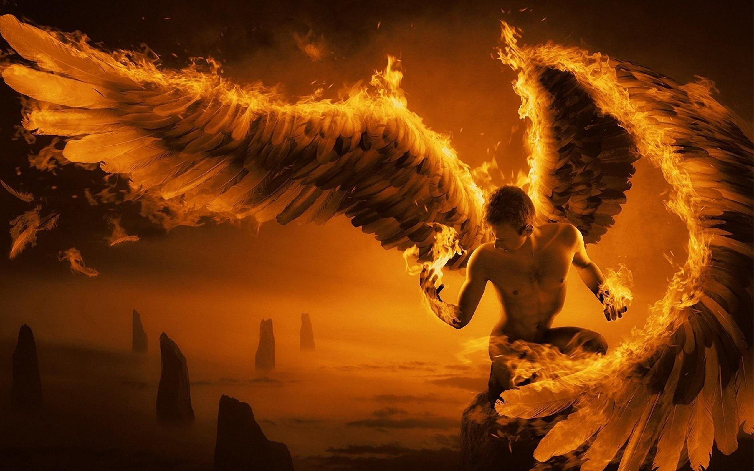 Angel Wings Fire Fantasy Wallpaper
