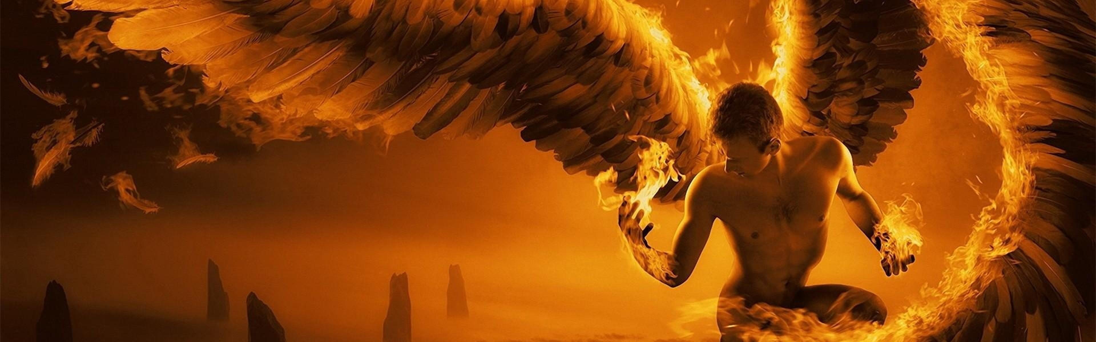 Wallpaper angel, wings, fire, fog, rocks