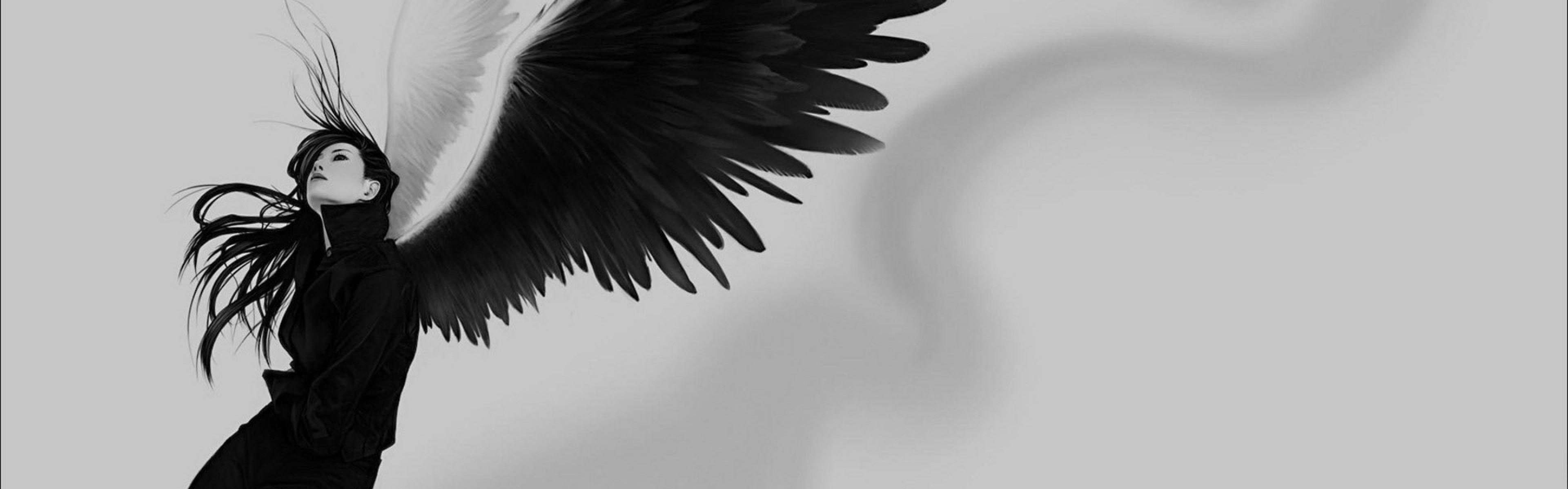 Wallpaper angel, wings, white, black, girl