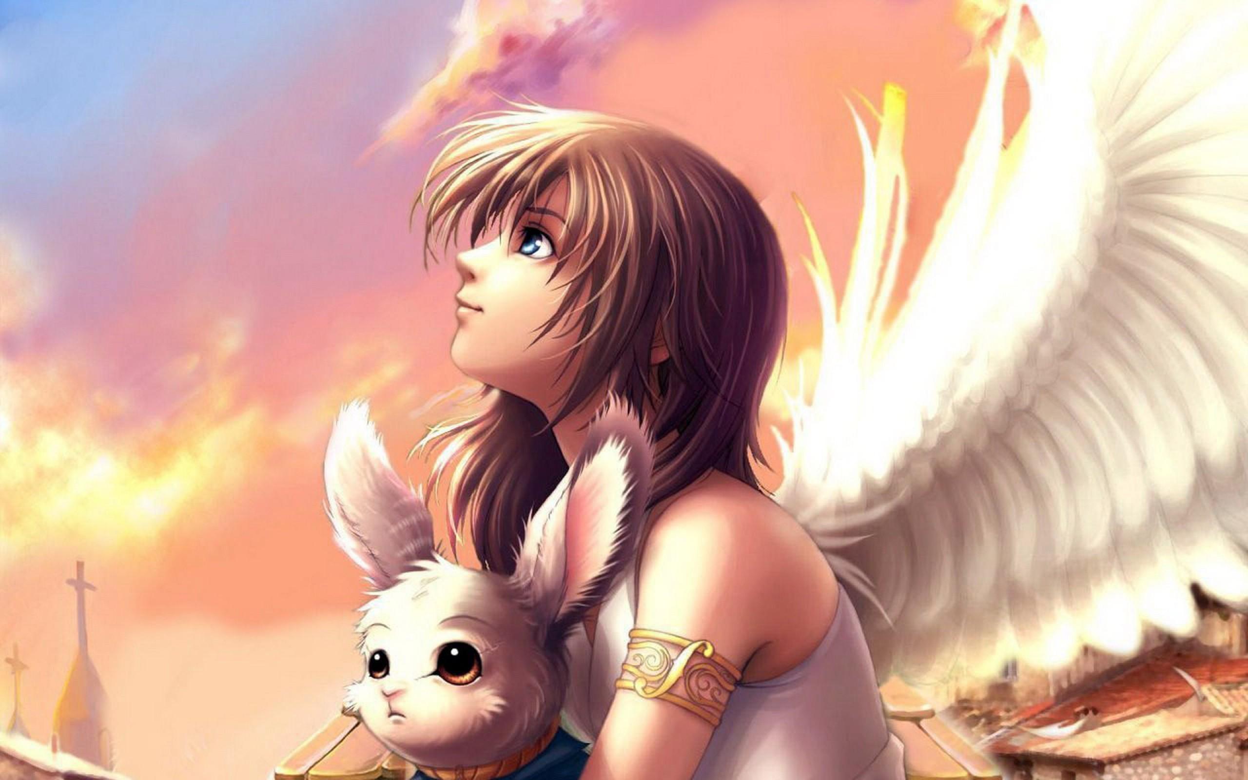 Anime angel wings wallpaper free desktop | Wallpapers, Backgrounds .