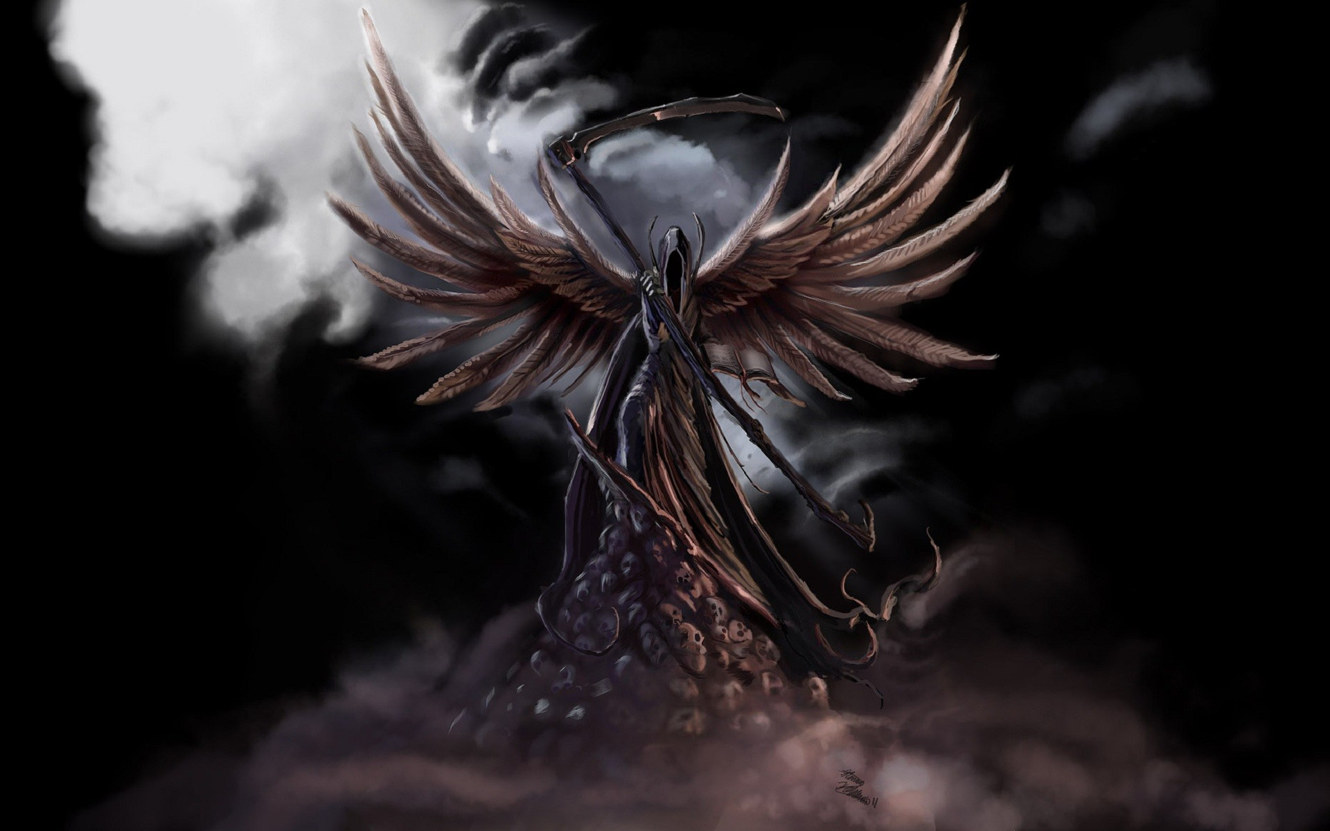 Dark Grim Reaper horror skeletons skull creepy wings angel wallpaper