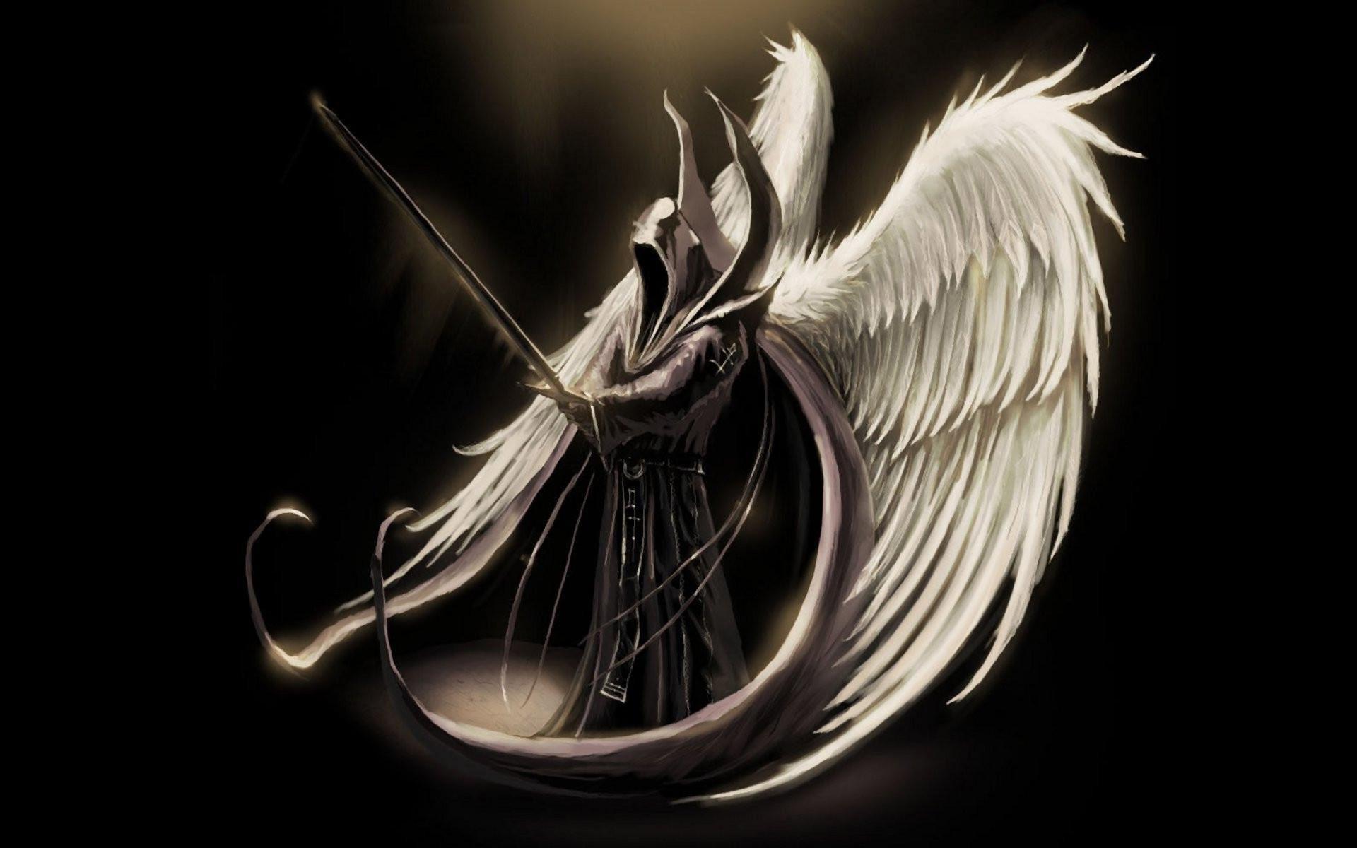 Fantasy Angel Warrior Dark Angel Wings Man Hood Sword Wallpaper