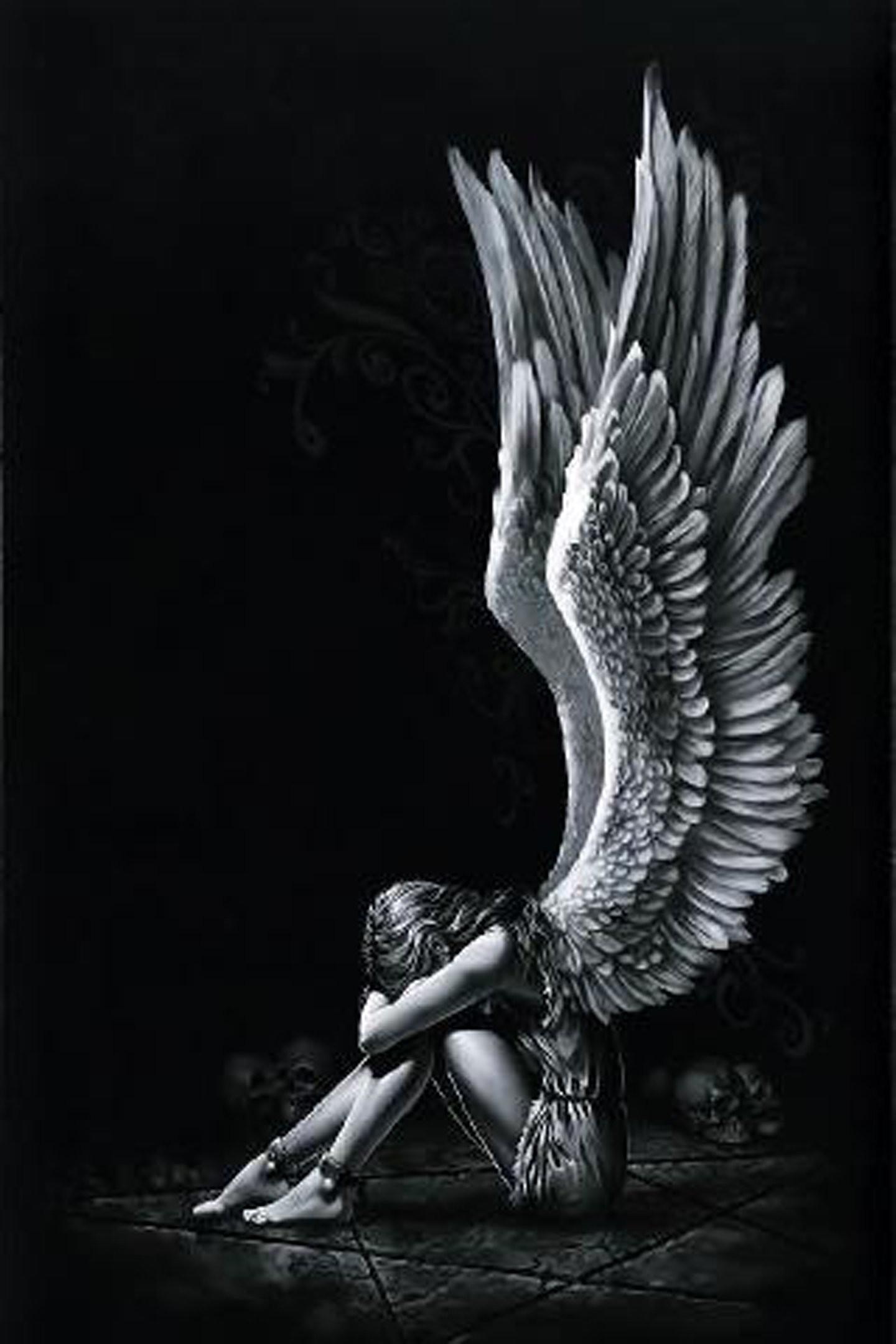 Angel girl wings fantasy alone light black white wallpaper | |  571221 | WallpaperUP