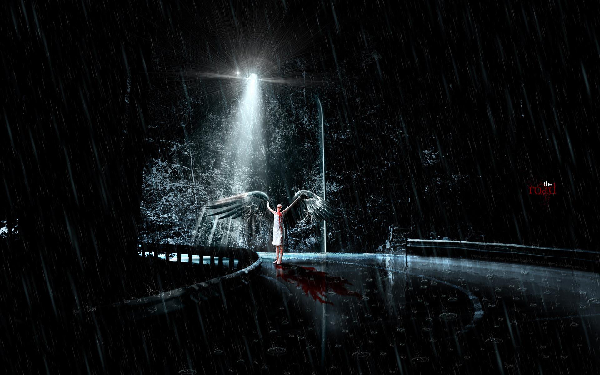 woman, angel, wings, rain, blood, road