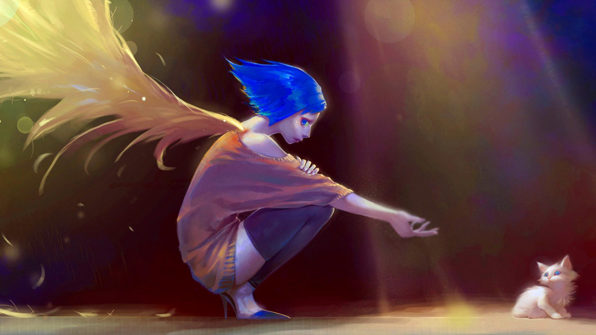 … anime, angel, wings, cat, sadness, rain, dark, art,