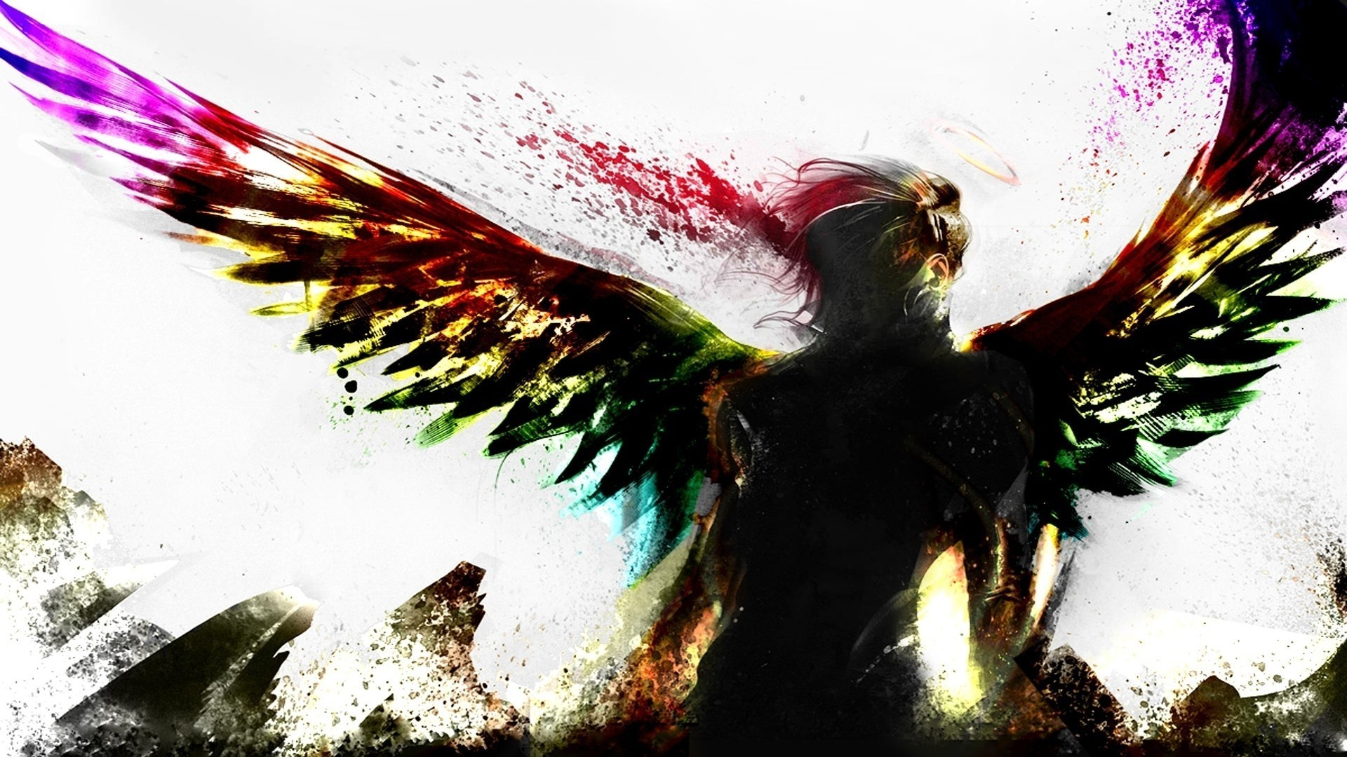 artwork, Fantasy Art, Digital Art, Angel, Wings, Colorful Wallpapers HD /  Desktop and Mobile Backgrounds