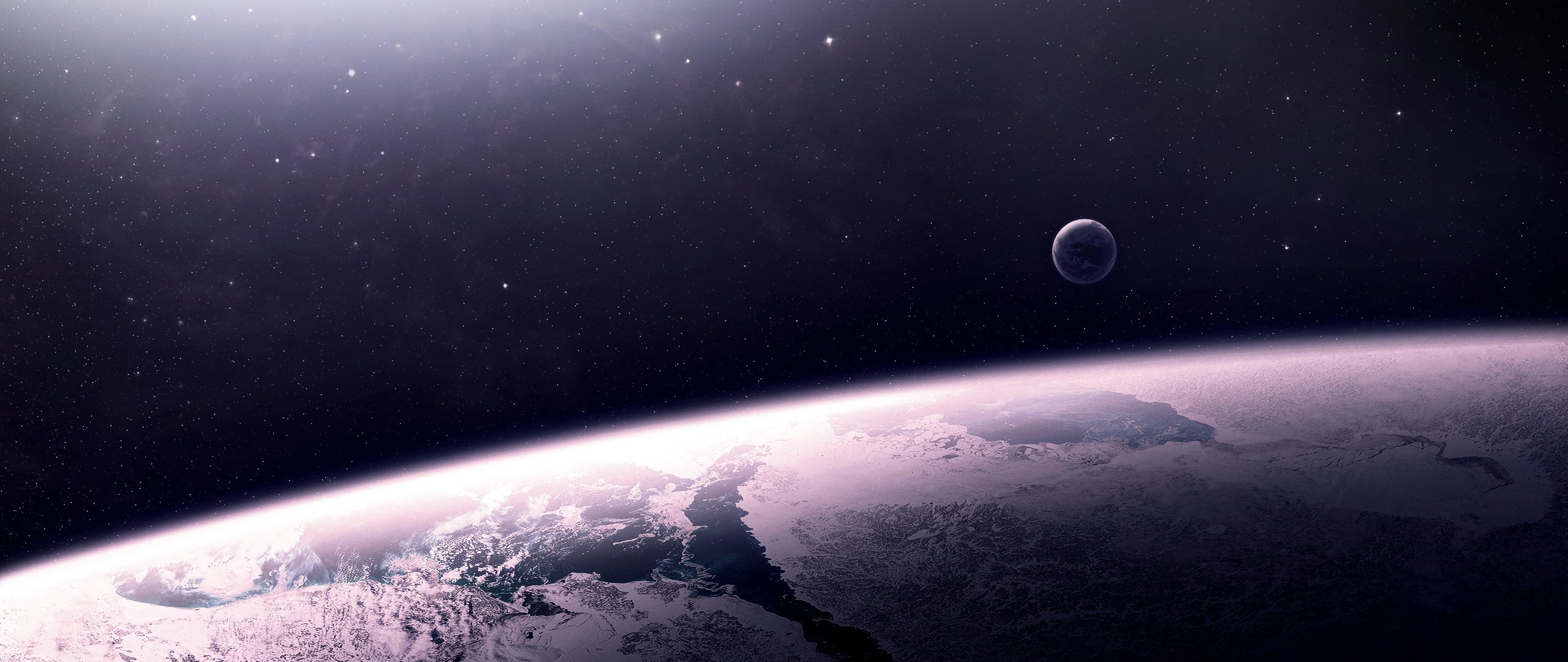 Preview wallpaper star, relief, planet, space 2560×1080