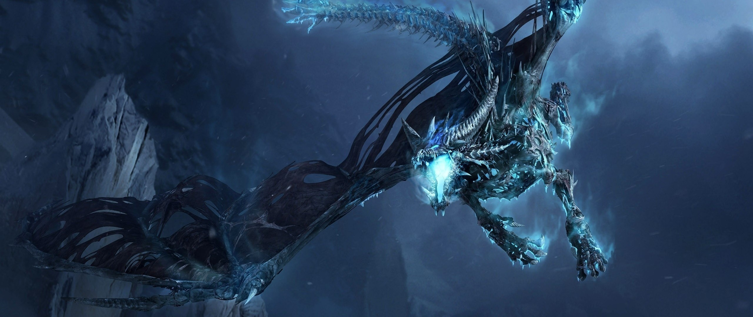 Preview wallpaper dragon, fly, jaws, rocks, night 2560×1080