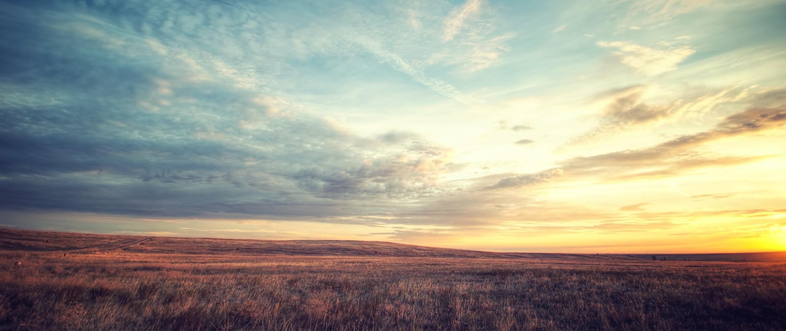 Preview wallpaper field, dawn, sky, beautiful scenery 2560×1080