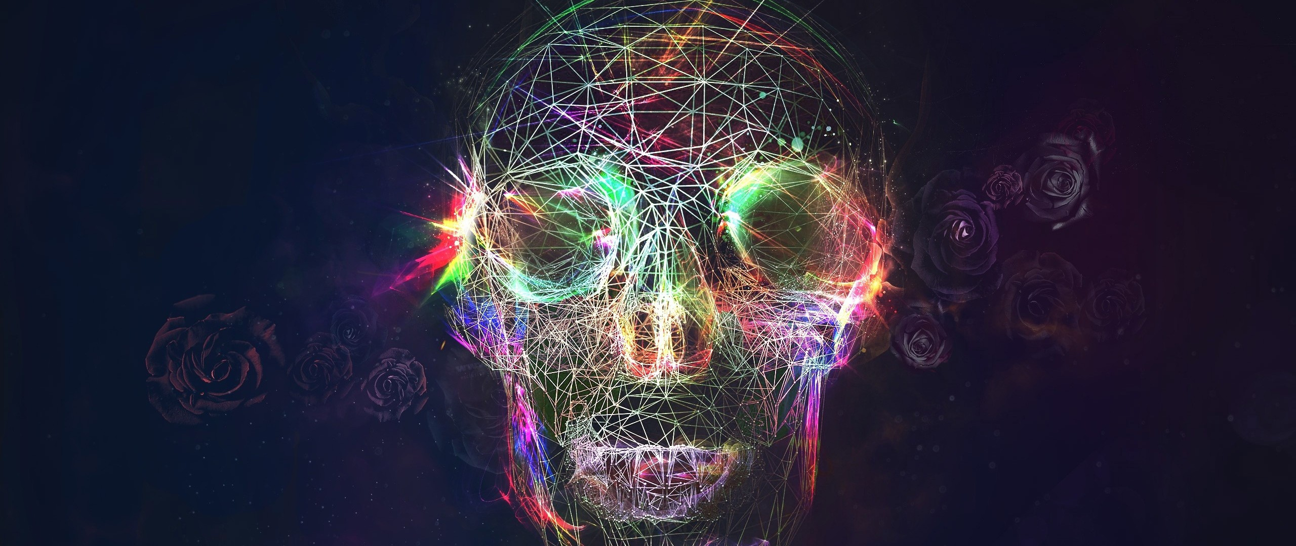 Preview wallpaper skull, abstract, bright, background 2560×1080