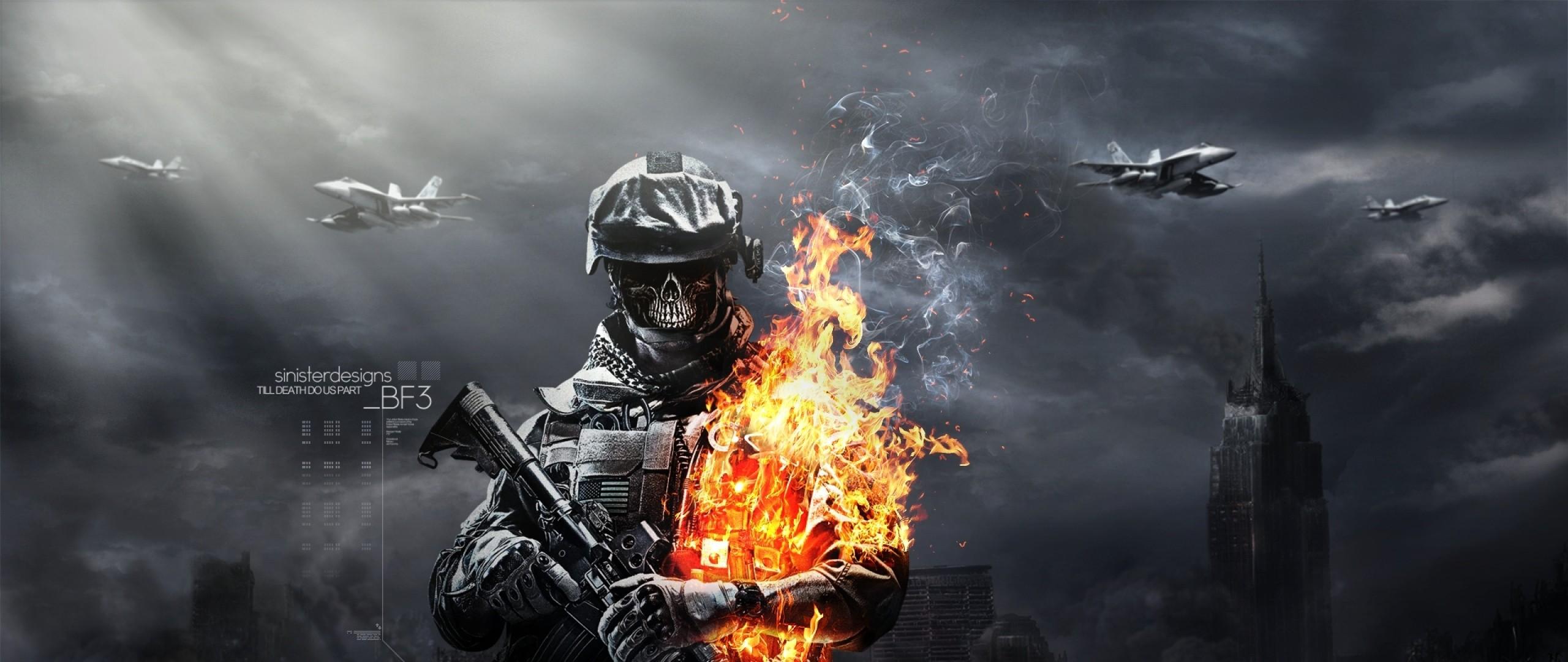 Wallpaper battlefield, aviation, ammunition, skull, gun, fire