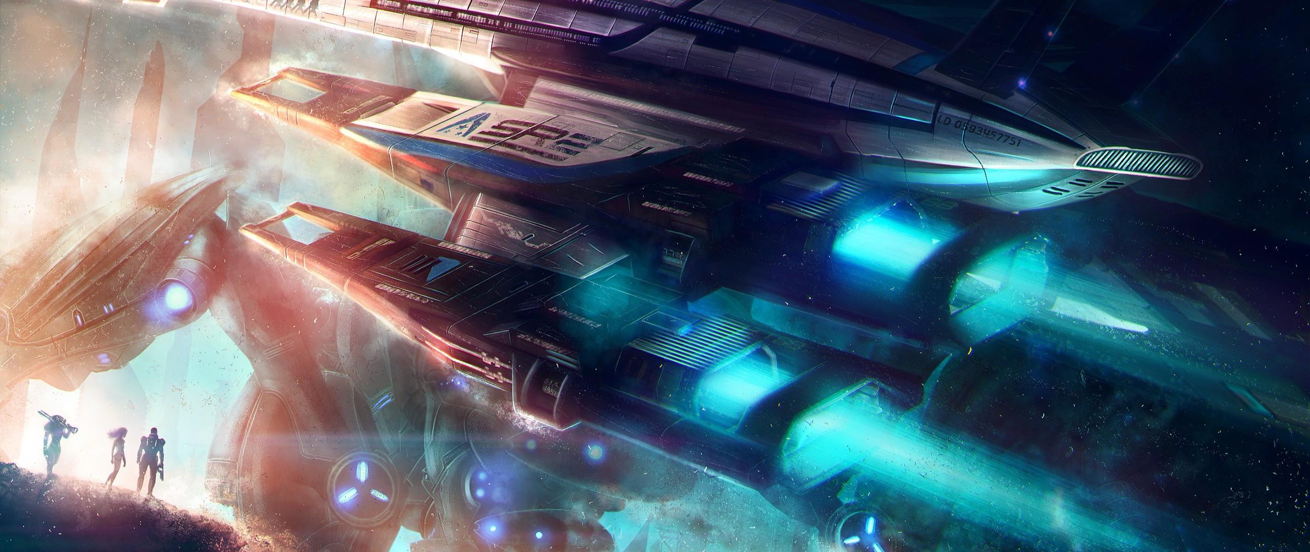 Preview wallpaper normandy, mass effect, spaceship 2560×1080