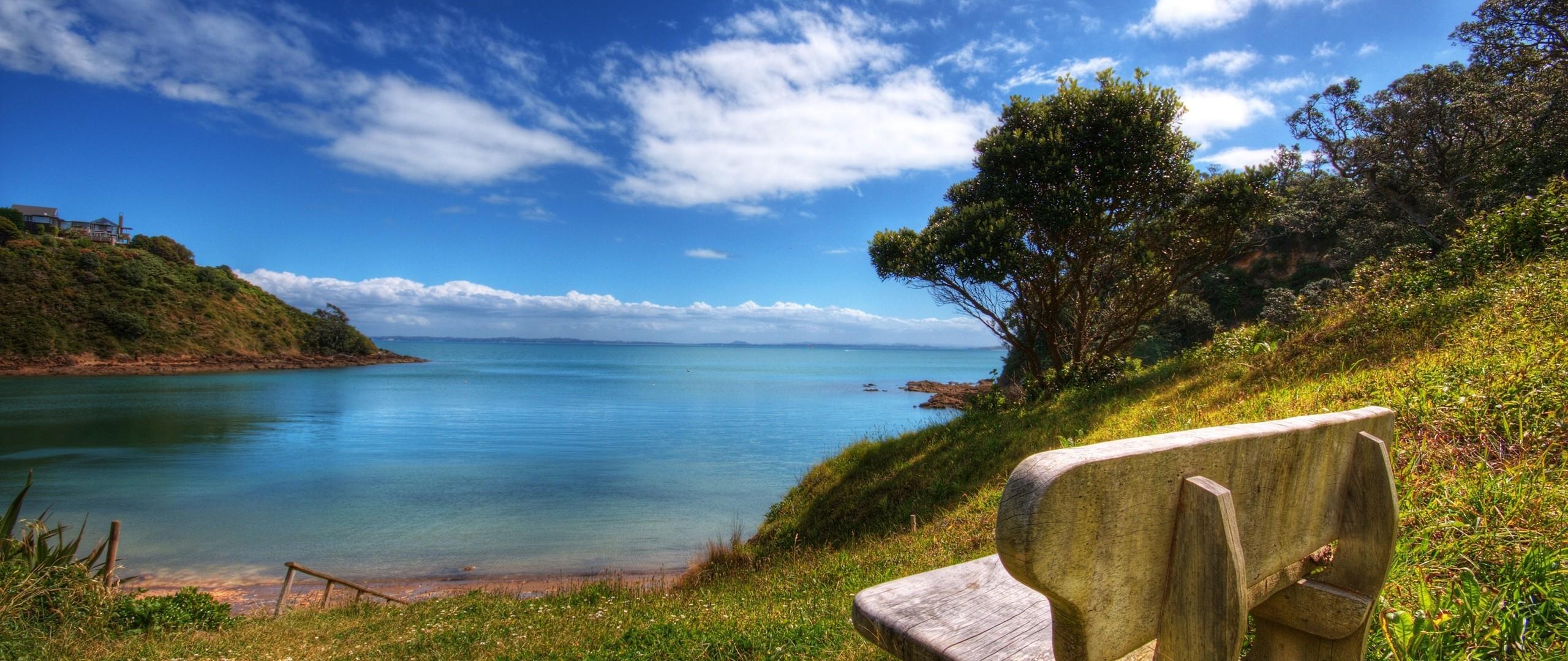 Wallpaper bench, sea, landscape, coast