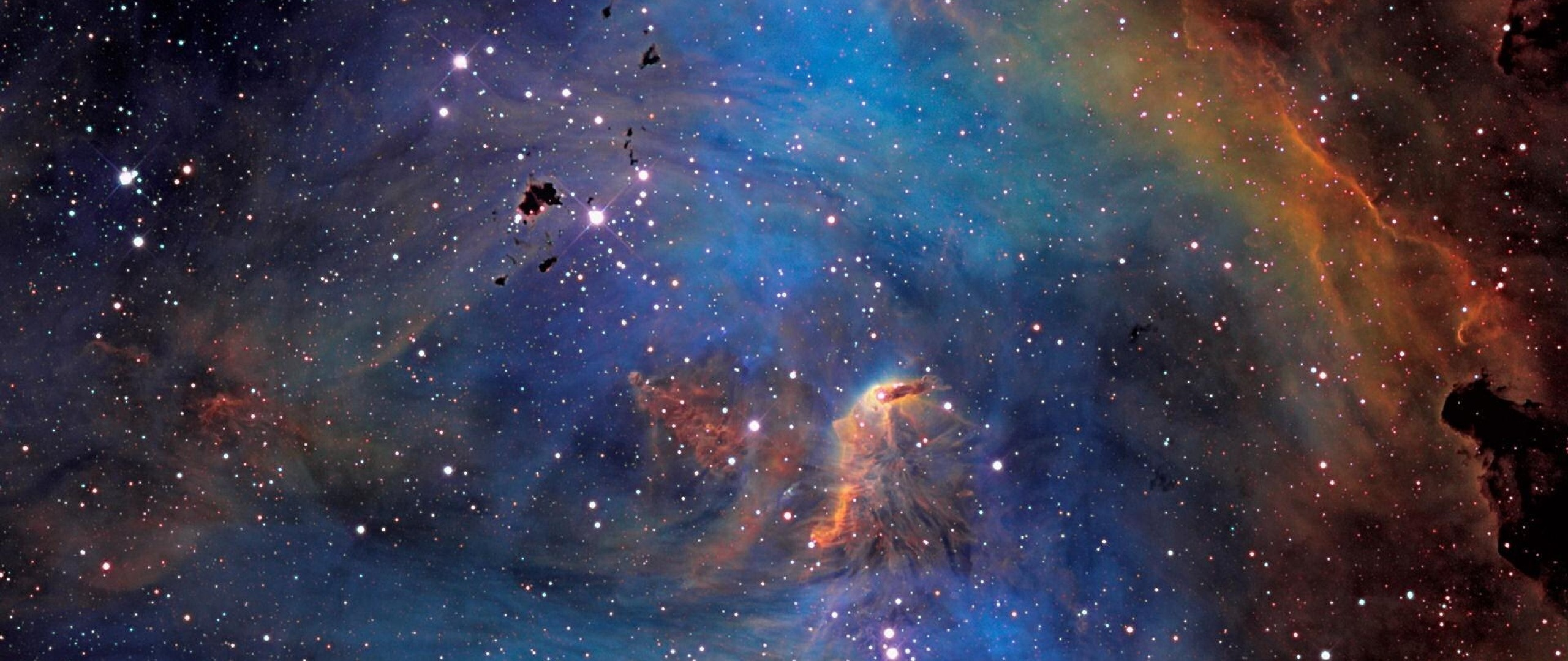 Stars In Blue Purple And Orange Color Wallpaper   WallpapersByte .