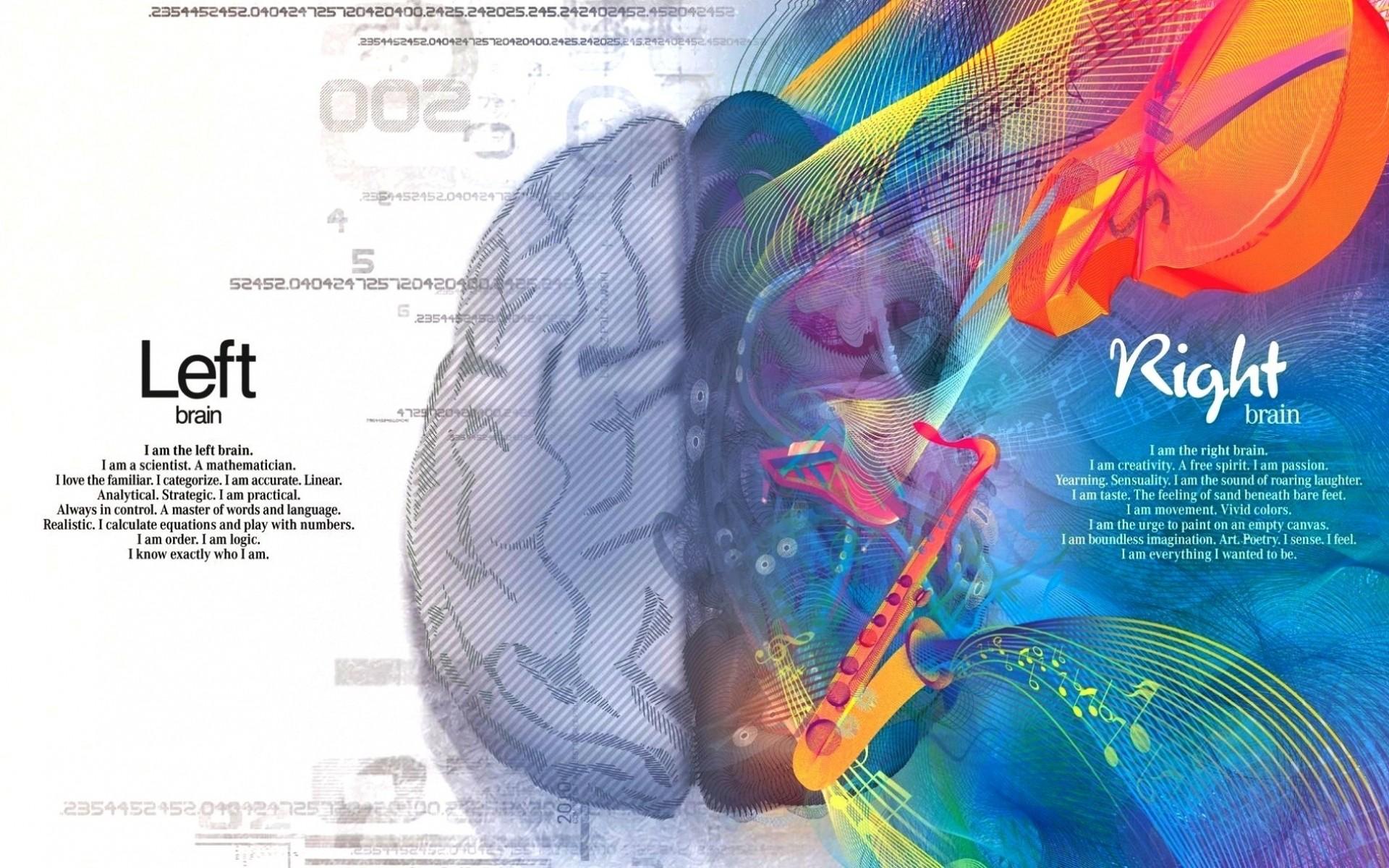 abstract minimalistic multicolor text brain logic creativity left 1920×1190  wallpaper Art HD Wallpaper