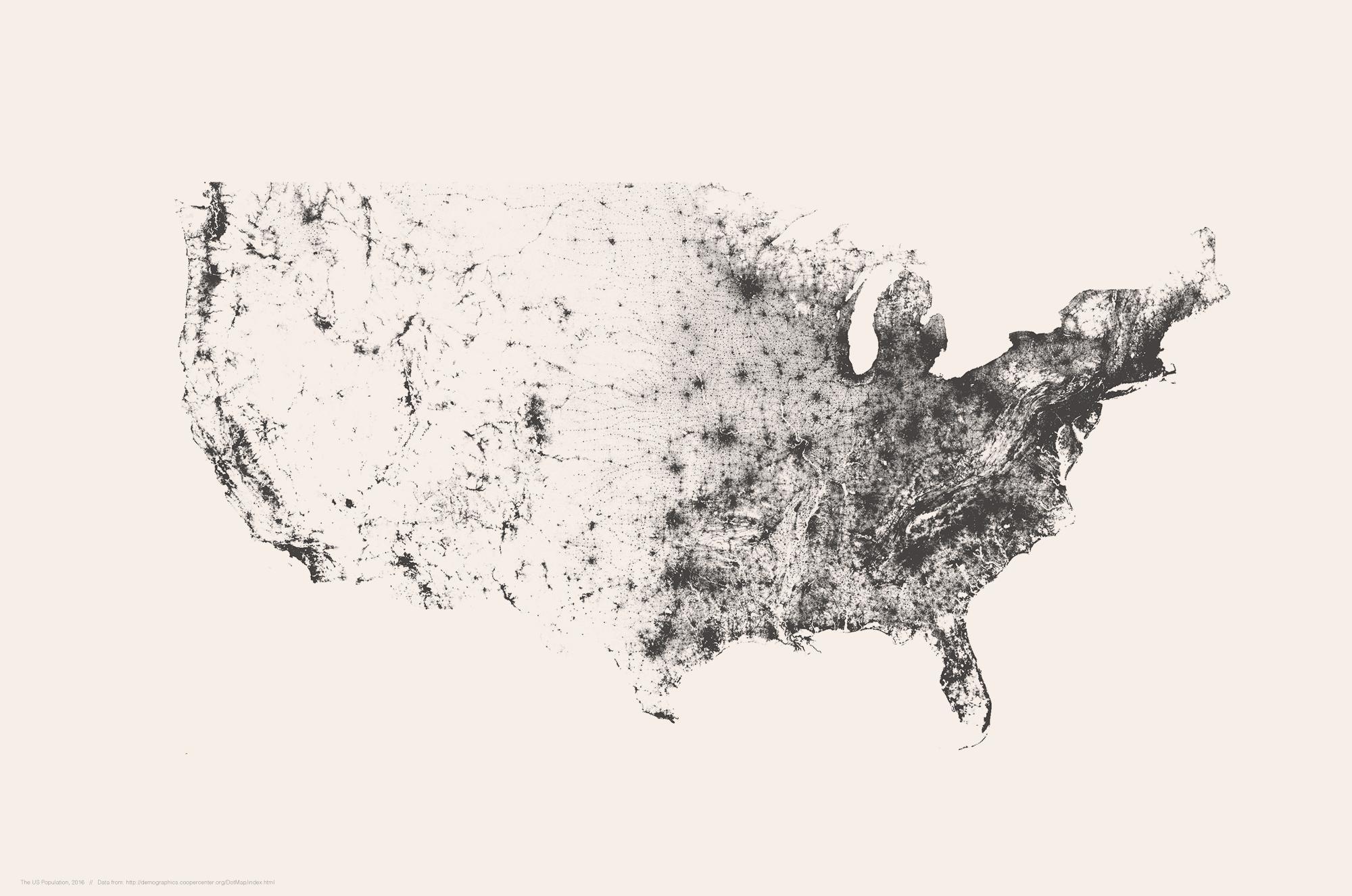A minimalist desktop wallpaper of the US population.