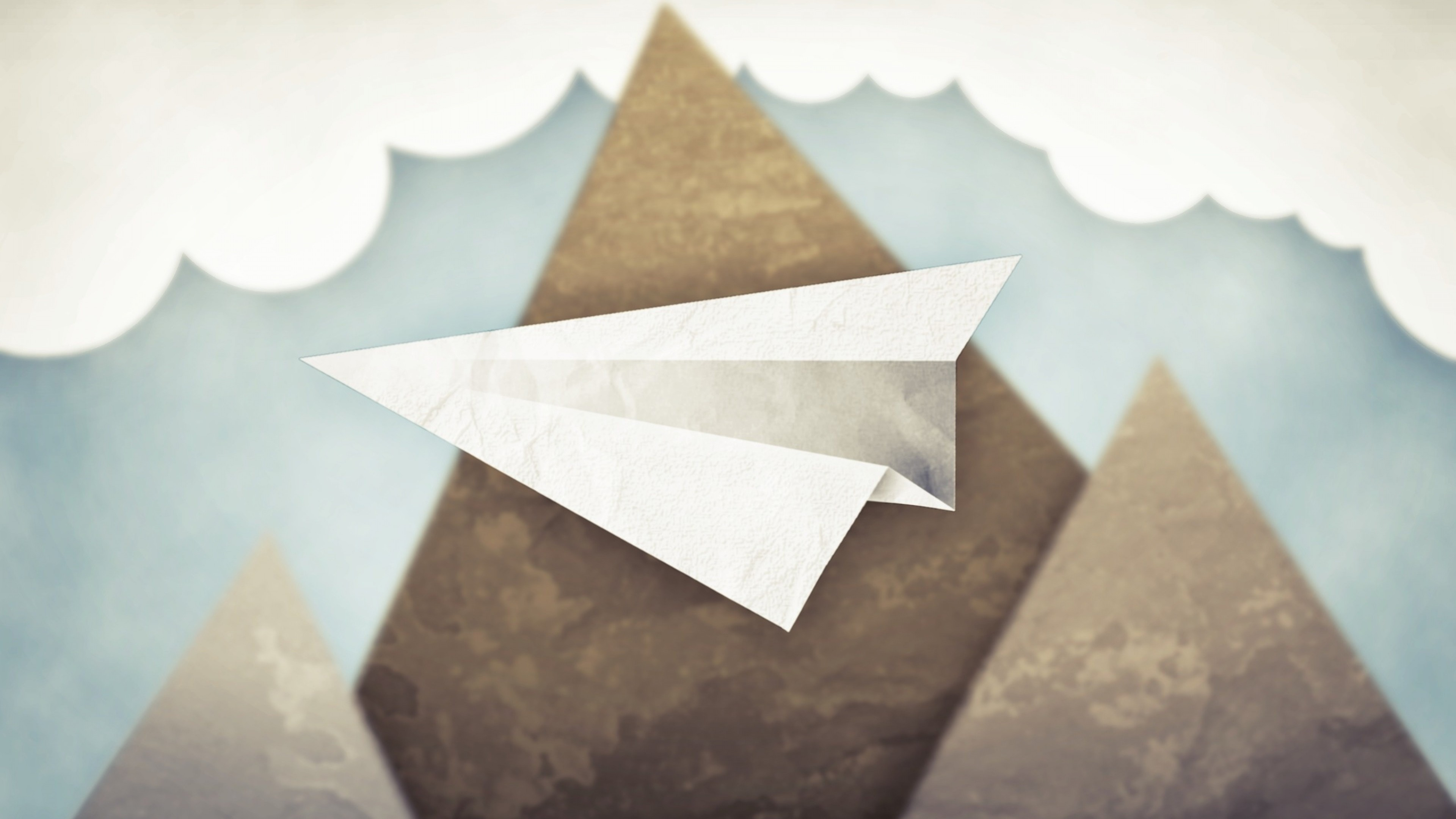 Preview wallpaper minimalism, mountains, clouds, sky, paper airplane  3840×2160