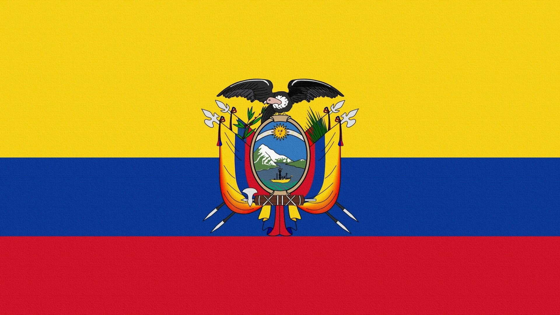 Preview wallpaper flag, ecuador, herb 1920×1080
