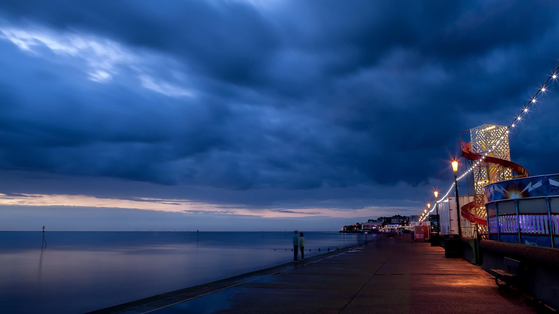 Wallpaper twilight, people, beach, night