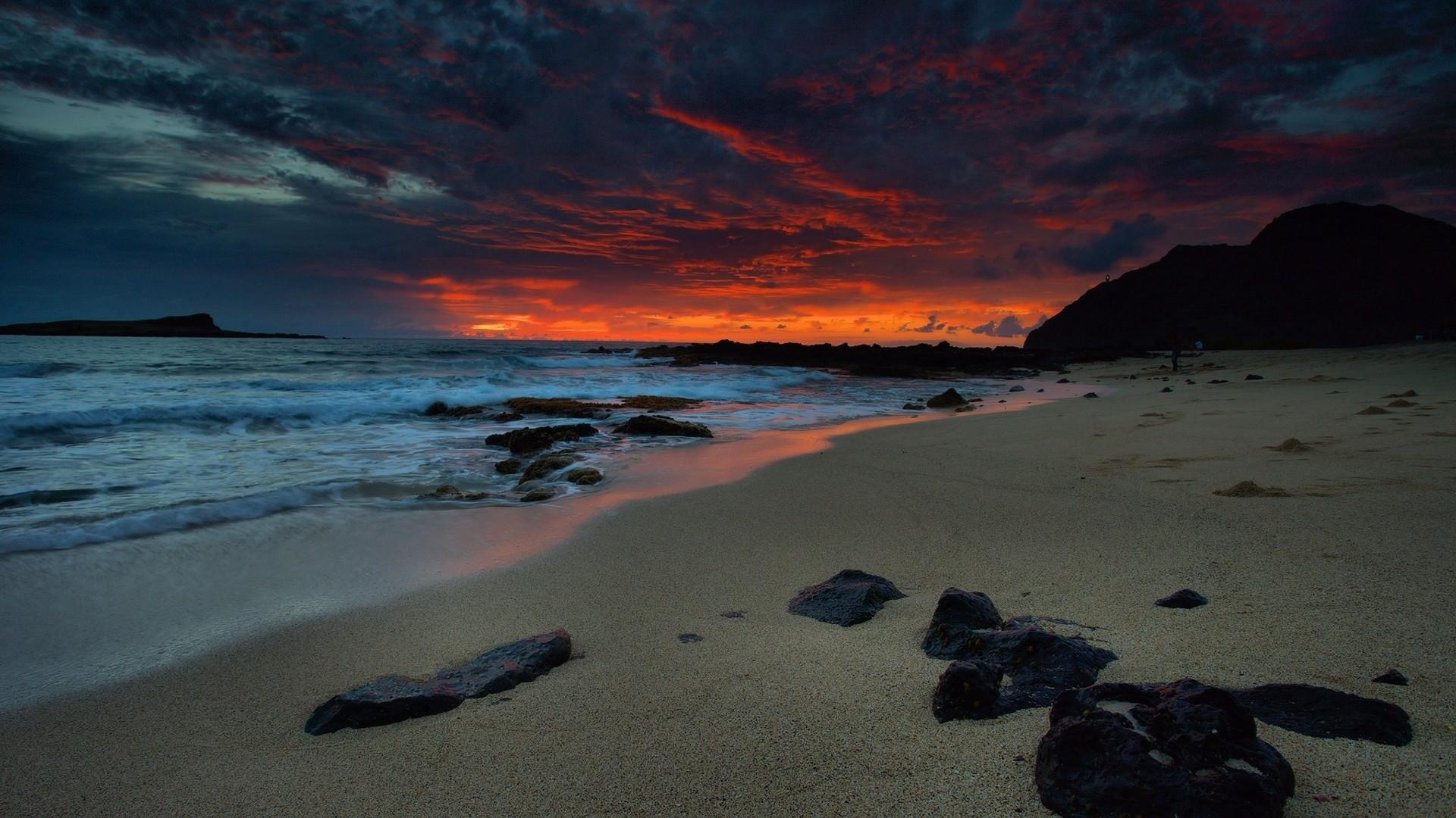 Wallpaper beach, night, sea, sky