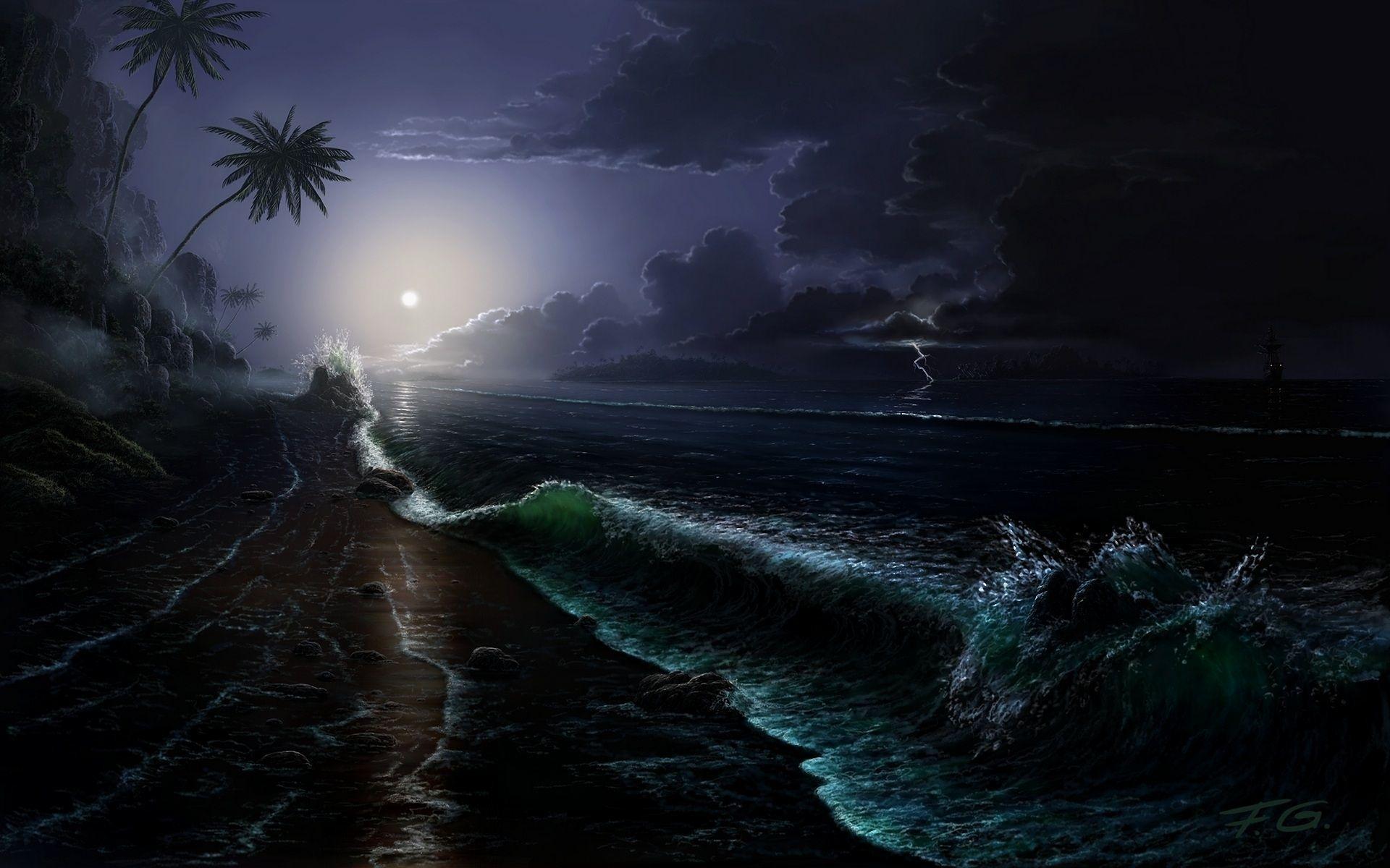 wallpaper.wiki-Free-Download-Beach-At-Night-Background-
