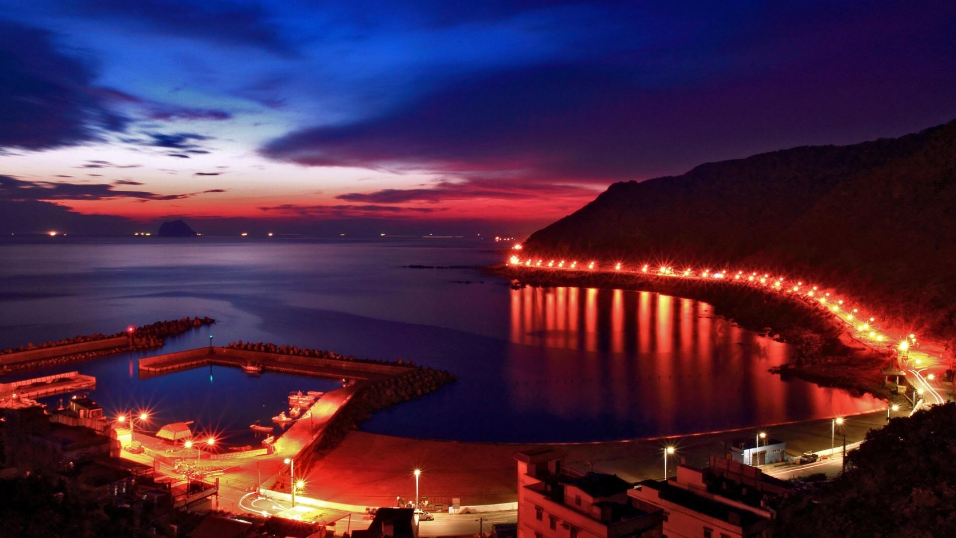 Wallpaper beach, lights, sky, pier, night, city lights